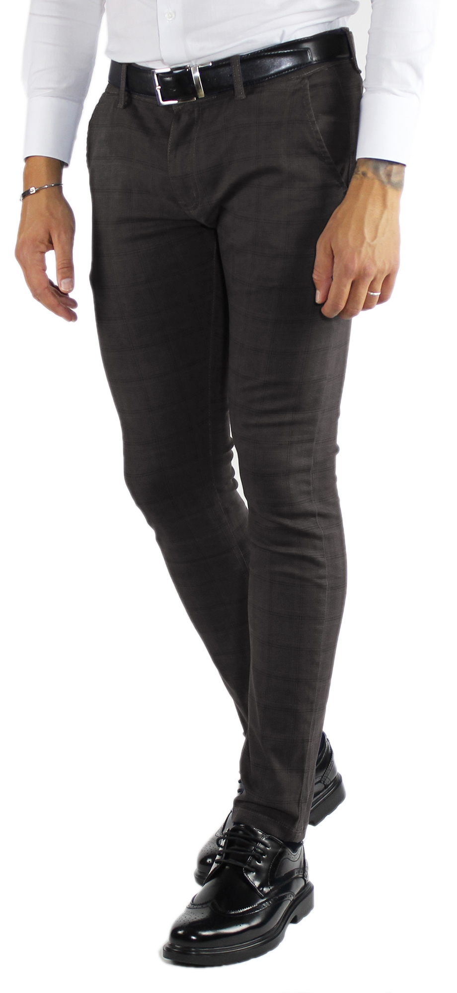 Pantaloni-Uomo-Invernali-a-Quadri-Eleganti-Pantalone-Slim-Fit-Elasticizzati-Scoz miniatura 16