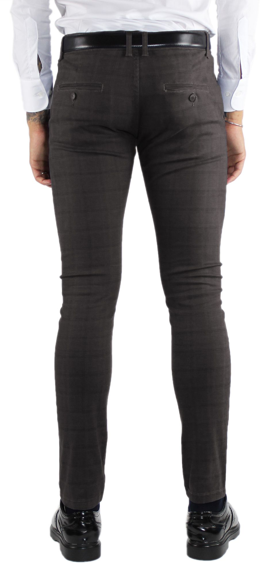 Pantaloni-Uomo-Invernali-a-Quadri-Eleganti-Pantalone-Slim-Fit-Elasticizzati-Scoz miniatura 17