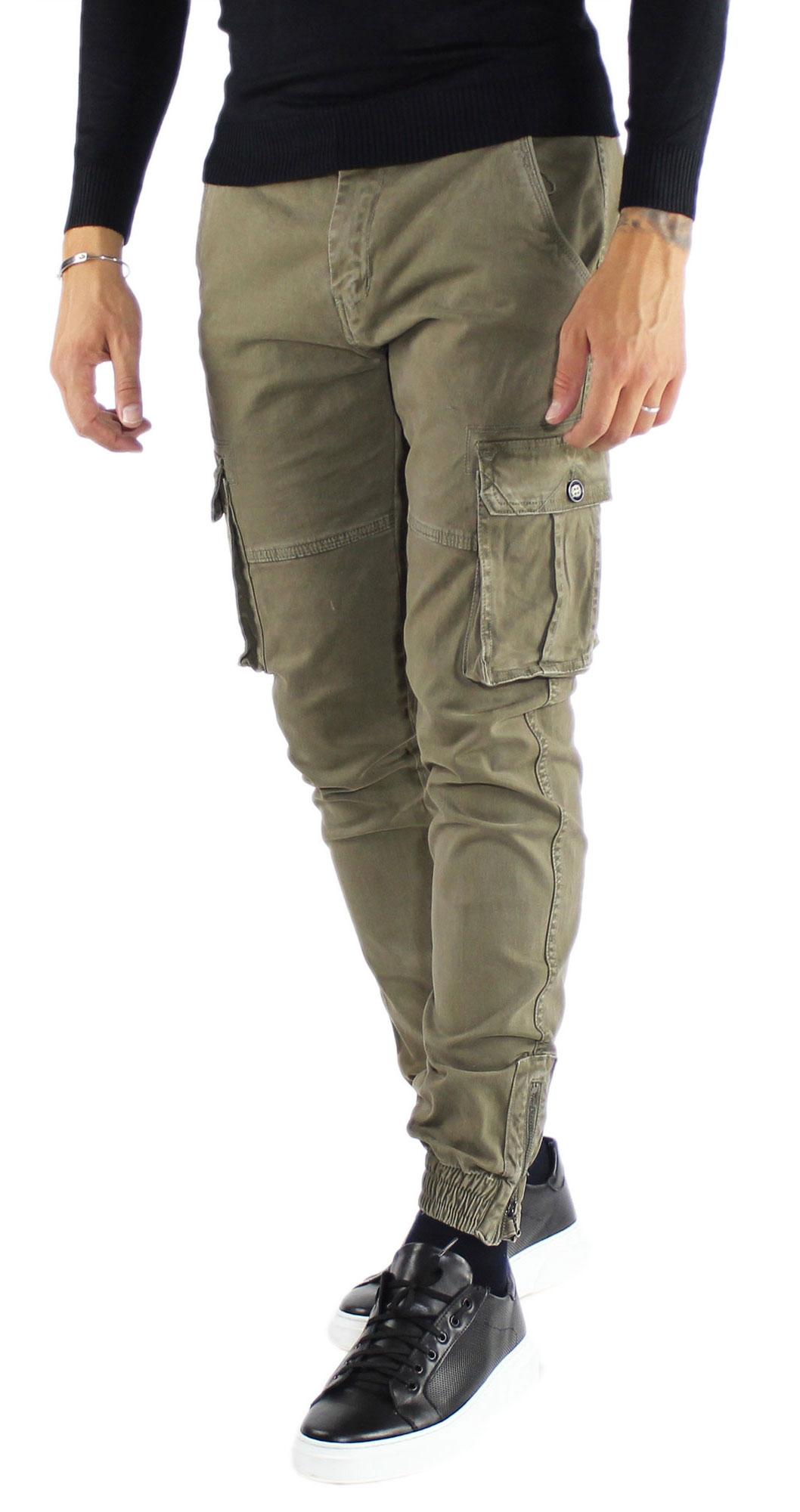 Pantaloni-Cargo-Uomo-Tasche-Laterali-Invernali-Cotone-Slim-Fit-Tasconi-Casual miniatura 19