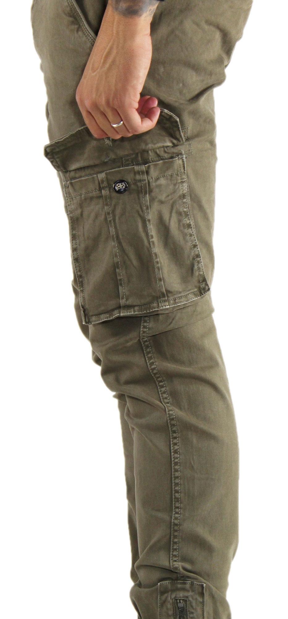 Pantaloni-Cargo-Uomo-Tasche-Laterali-Invernali-Cotone-Slim-Fit-Tasconi-Casual miniatura 20