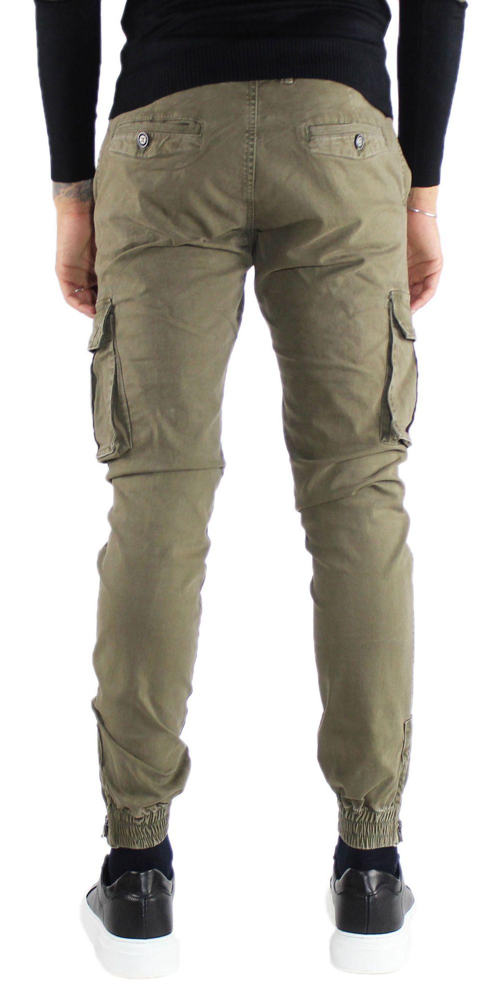 Pantaloni-Cargo-Uomo-Tasche-Laterali-Invernali-Cotone-Slim-Fit-Tasconi-Casual miniatura 21