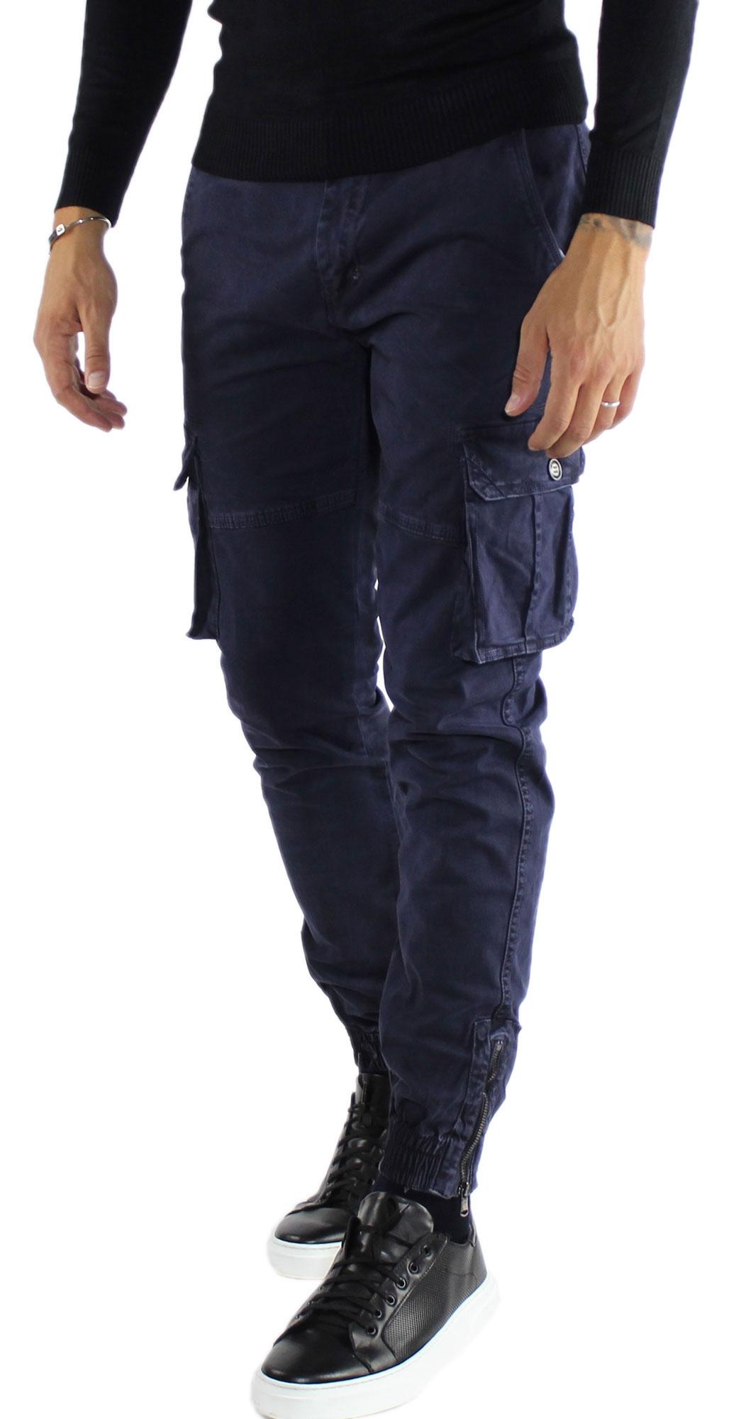 Pantaloni-Cargo-Uomo-Tasche-Laterali-Invernali-Cotone-Slim-Fit-Tasconi-Casual miniatura 7