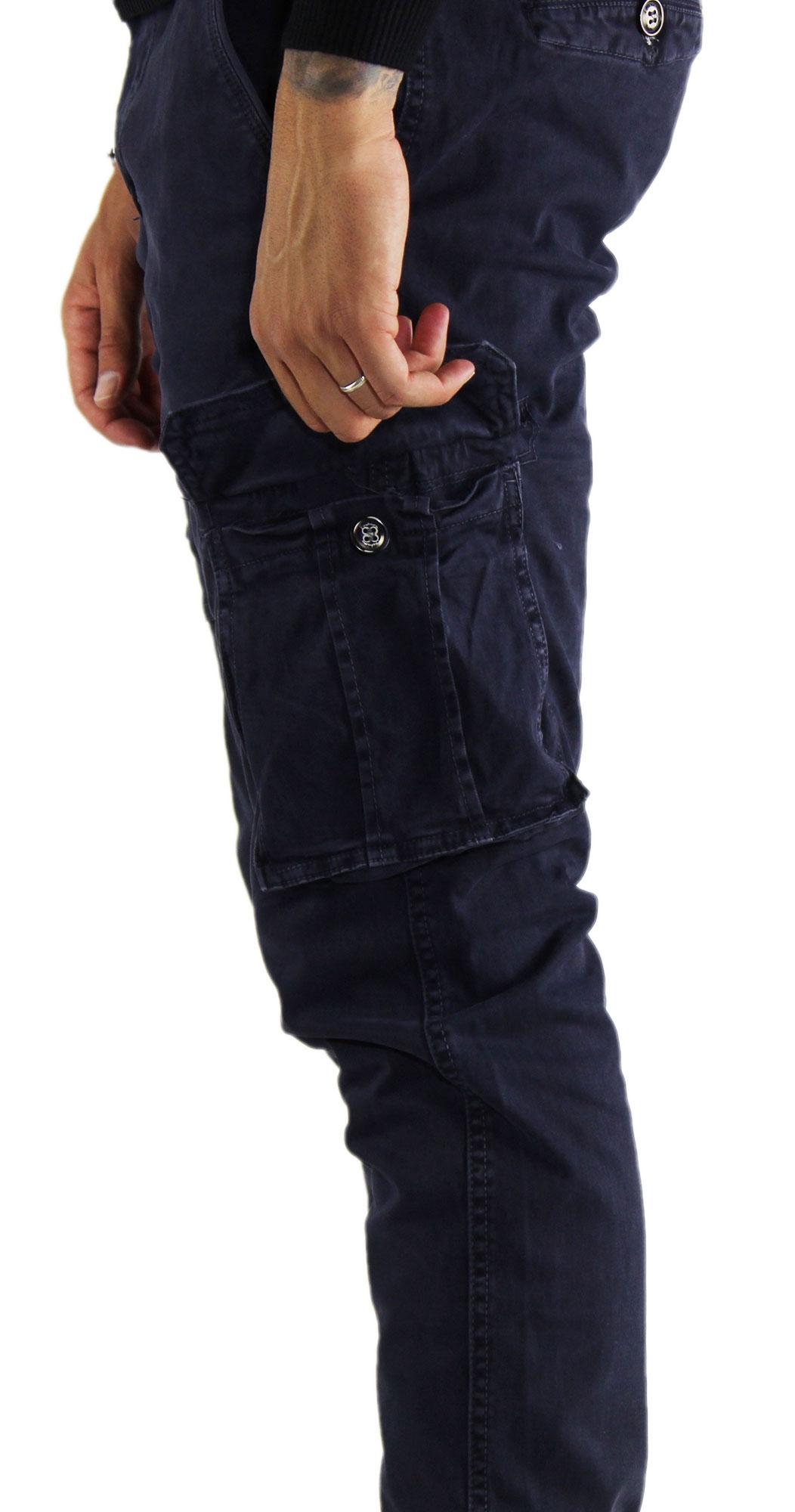 Pantaloni-Cargo-Uomo-Tasche-Laterali-Invernali-Cotone-Slim-Fit-Tasconi-Casual miniatura 8