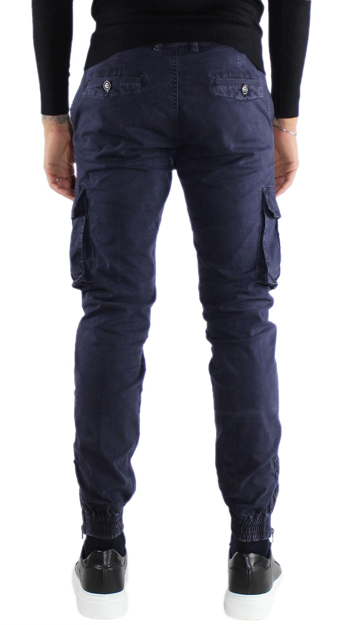 Pantaloni-Cargo-Uomo-Tasche-Laterali-Invernali-Cotone-Slim-Fit-Tasconi-Casual miniatura 9