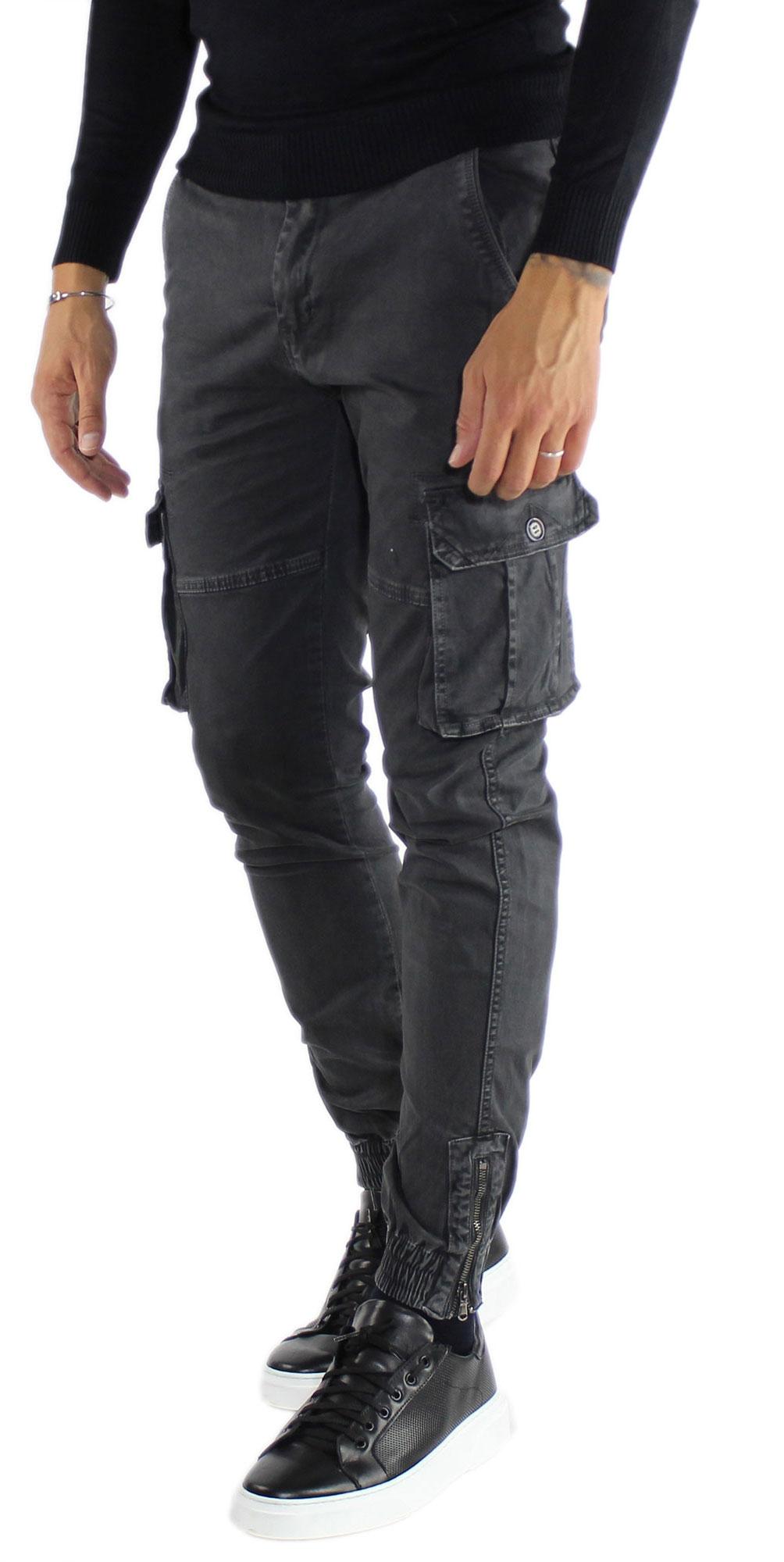 Pantaloni-Cargo-Uomo-Tasche-Laterali-Invernali-Cotone-Slim-Fit-Tasconi-Casual miniatura 3