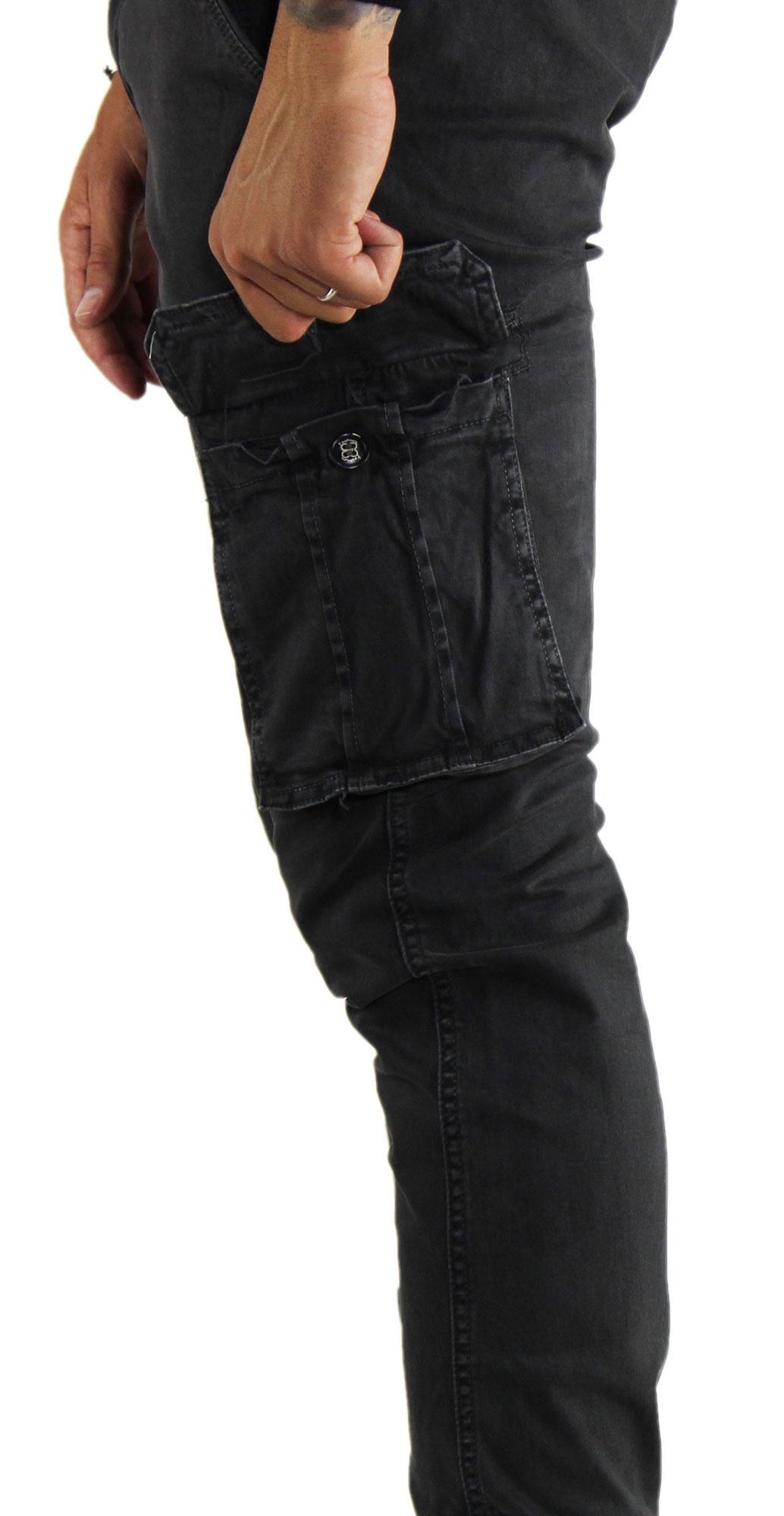 Pantaloni-Cargo-Uomo-Tasche-Laterali-Invernali-Cotone-Slim-Fit-Tasconi-Casual miniatura 4