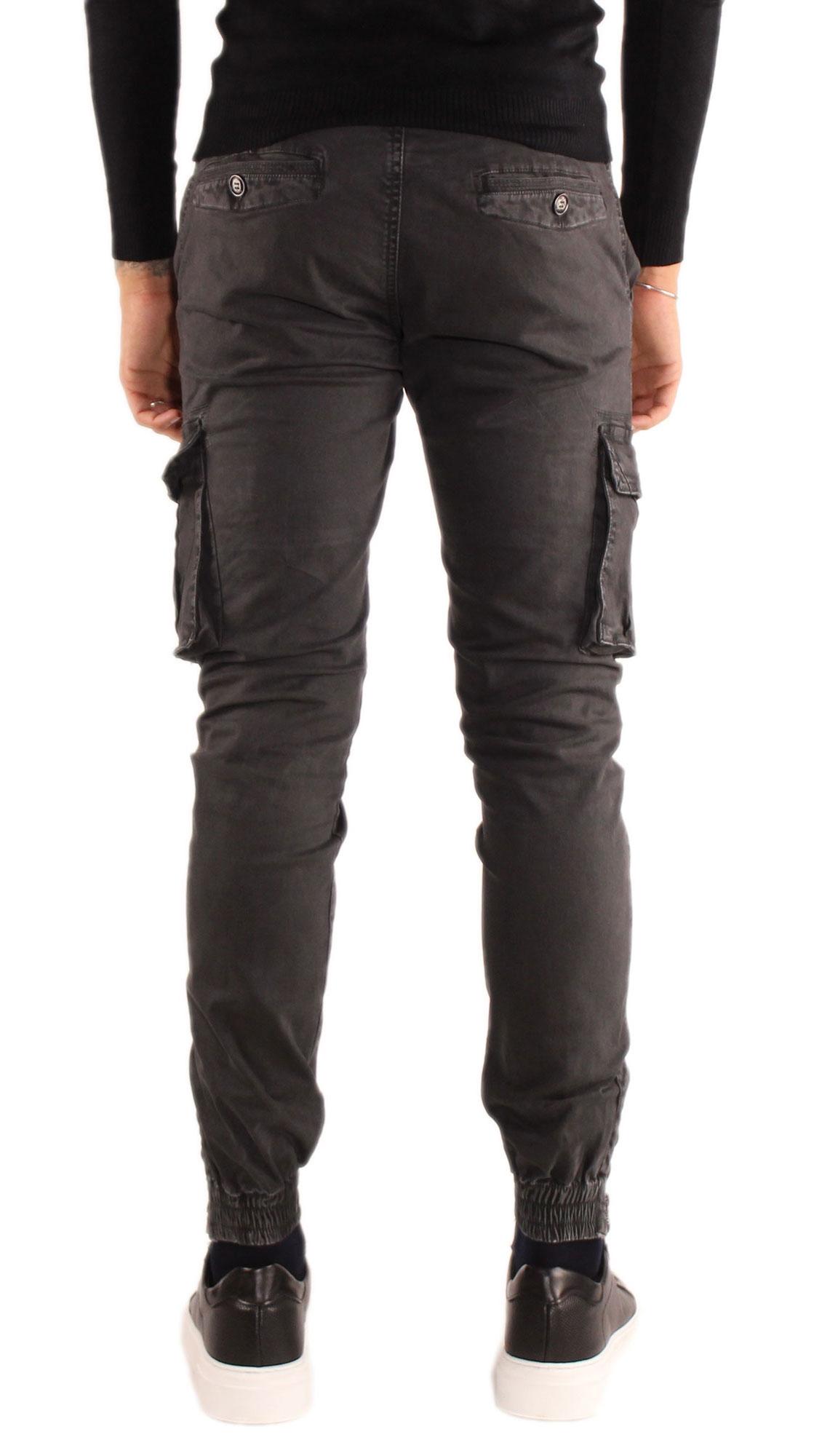 Pantaloni-Cargo-Uomo-Tasche-Laterali-Invernali-Cotone-Slim-Fit-Tasconi-Casual miniatura 5