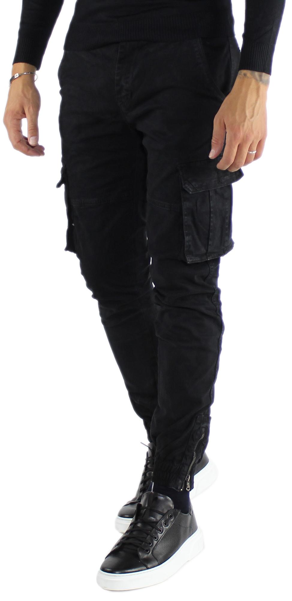 Pantaloni-Cargo-Uomo-Tasche-Laterali-Invernali-Cotone-Slim-Fit-Tasconi-Casual miniatura 15