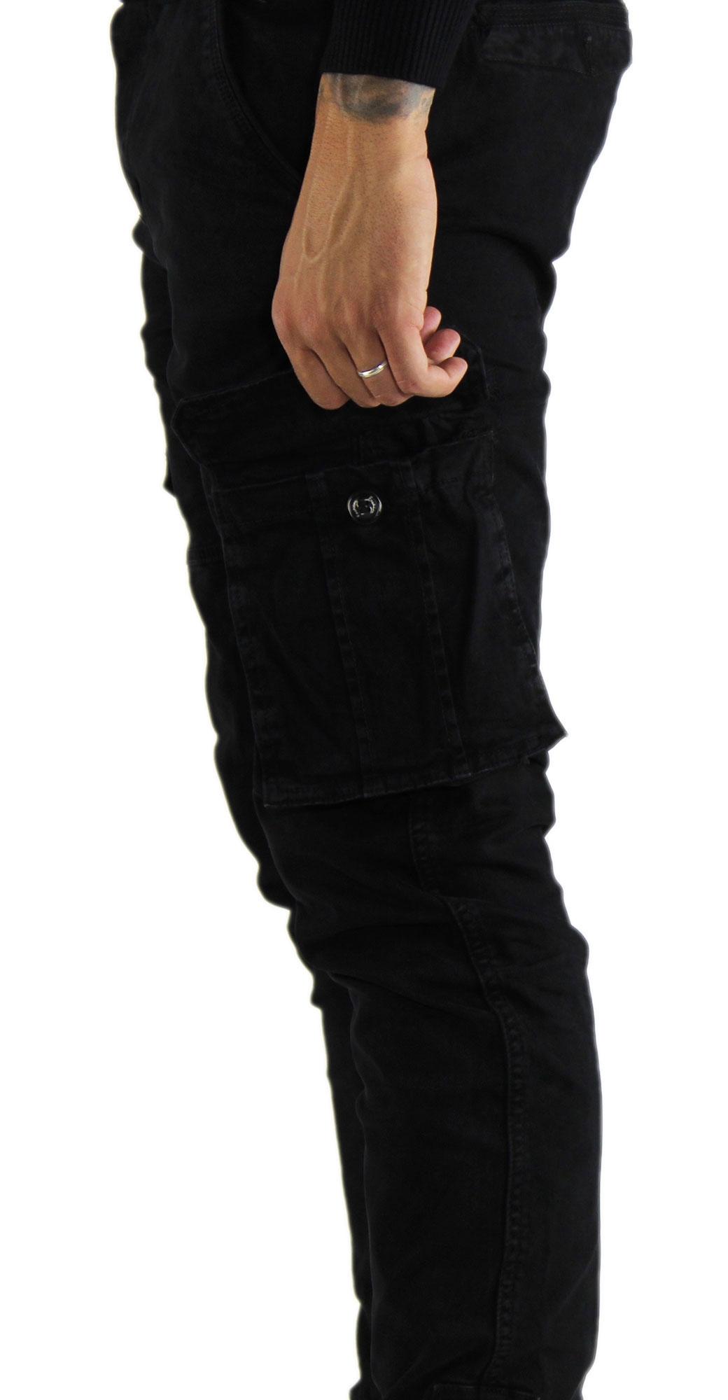 Pantaloni-Cargo-Uomo-Tasche-Laterali-Invernali-Cotone-Slim-Fit-Tasconi-Casual miniatura 16