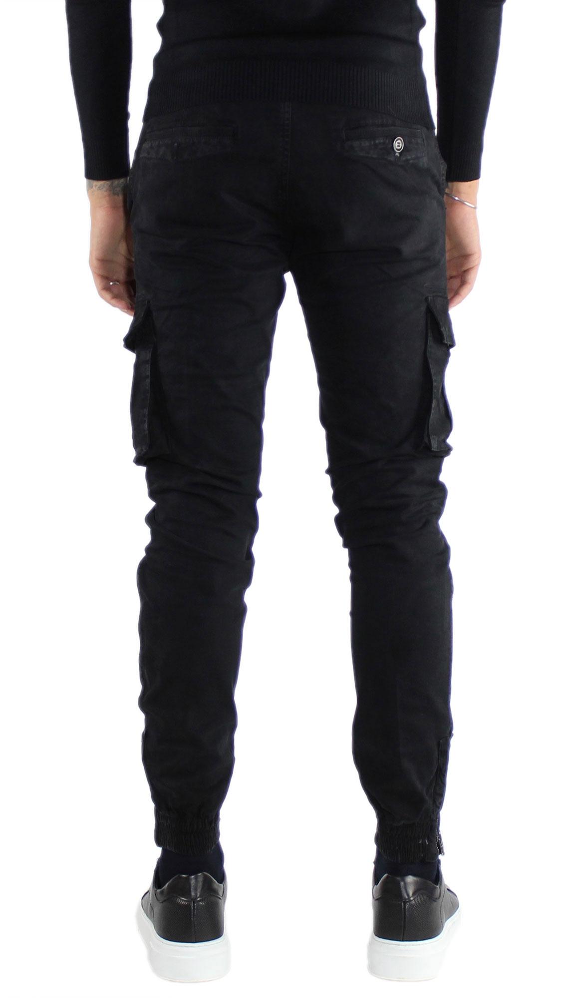 Pantaloni-Cargo-Uomo-Tasche-Laterali-Invernali-Cotone-Slim-Fit-Tasconi-Casual miniatura 17