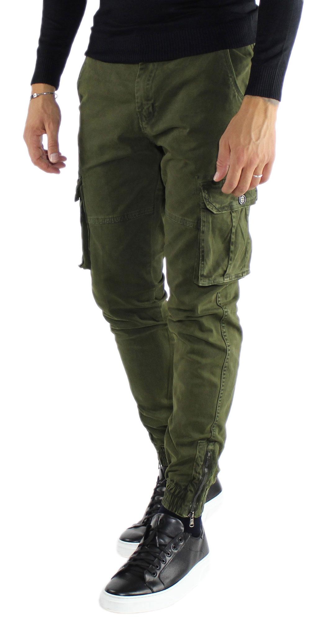 Pantaloni-Cargo-Uomo-Tasche-Laterali-Invernali-Cotone-Slim-Fit-Tasconi-Casual miniatura 11