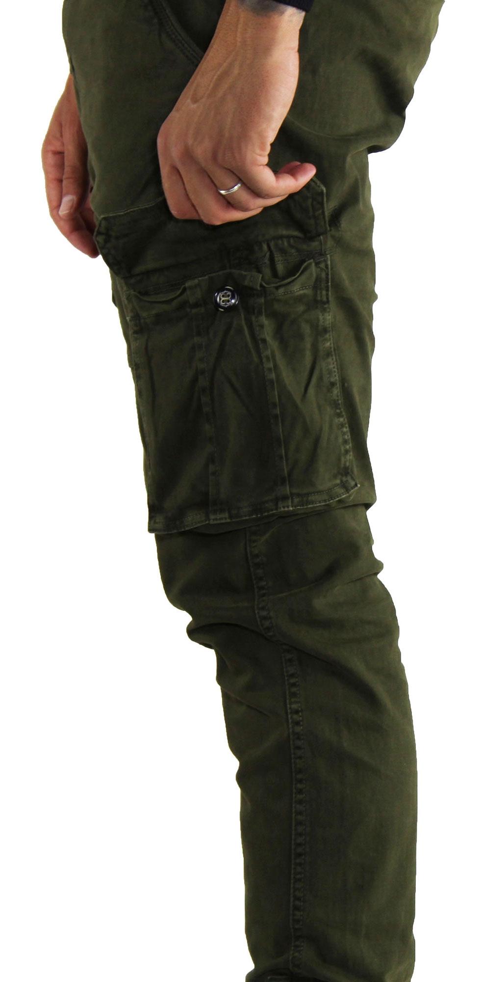 Pantaloni-Cargo-Uomo-Tasche-Laterali-Invernali-Cotone-Slim-Fit-Tasconi-Casual miniatura 12