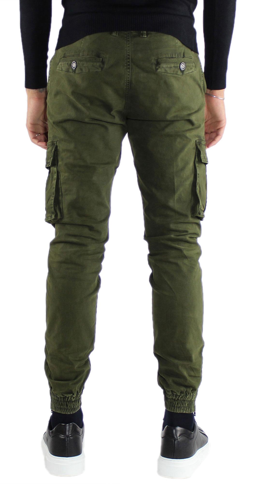 Pantaloni-Cargo-Uomo-Tasche-Laterali-Invernali-Cotone-Slim-Fit-Tasconi-Casual miniatura 13
