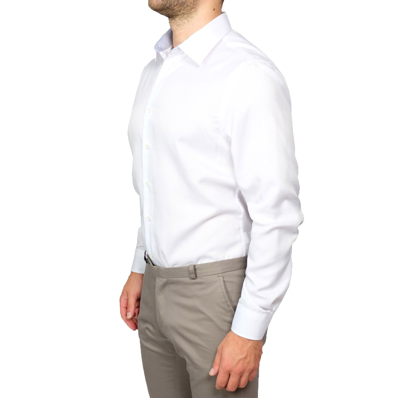 Camicia-Uomo-Slim-Fit-Cotone-Elegante-Manica-Lunga-Sartoriale-S-M-L-XL-XXL miniatura 15