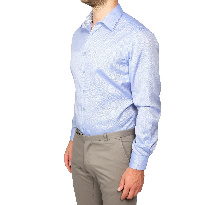 Camicia-Uomo-Slim-Fit-Cotone-Elegante-Manica-Lunga-Sartoriale-S-M-L-XL-XXL miniatura 12