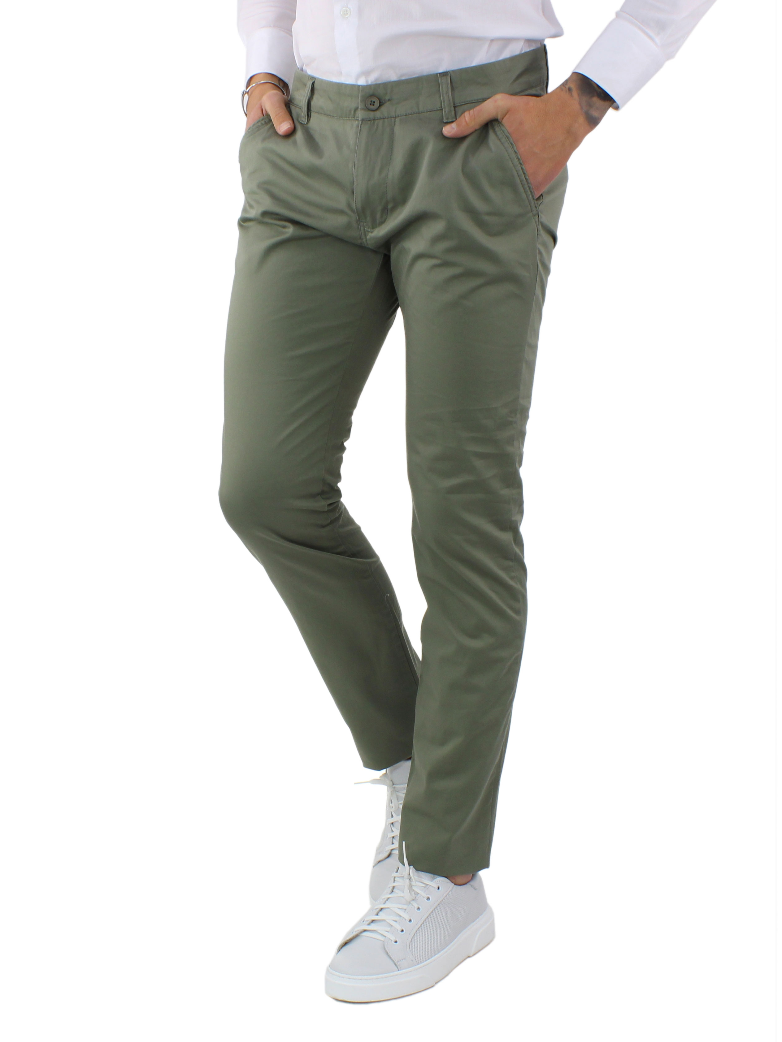 miniature 10 - Pantaloni Uomo Slim Fit Eleganti Primaverili Cotone Pantalone Chino Elasticizzat
