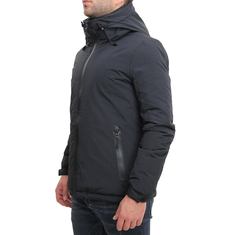 Giubbotto-Uomo-Invernale-Verde-Blu-Nero-Impermeabile-Cappuccio-Giubbino-Bomber miniatura 10