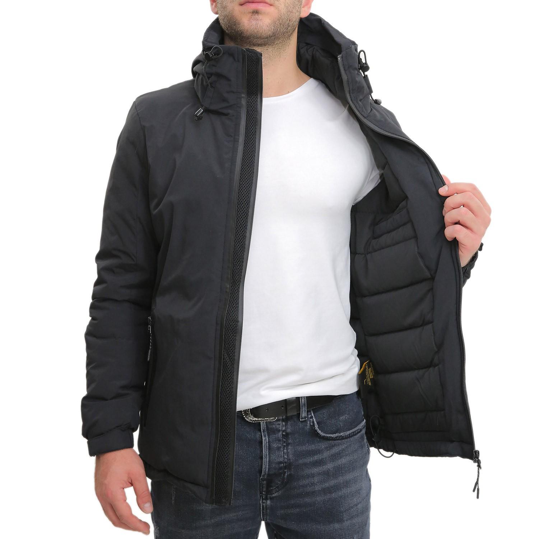 Giubbotto-Uomo-Invernale-Verde-Blu-Nero-Impermeabile-Cappuccio-Giubbino-Bomber miniatura 9