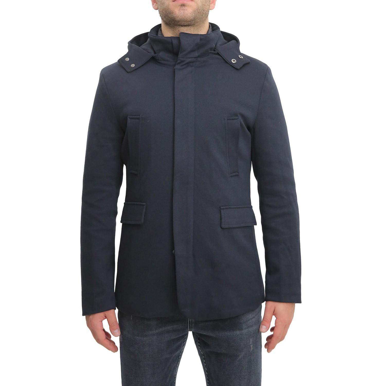 Cappotto-Uomo-Invernale-Corto-Blu-Nero-Con-Cappuccio-Giubbotto-Giacca-Giaccone miniatura 5