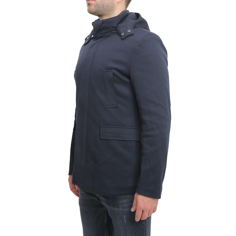 Cappotto-Uomo-Invernale-Corto-Blu-Nero-Con-Cappuccio-Giubbotto-Giacca-Giaccone miniatura 6