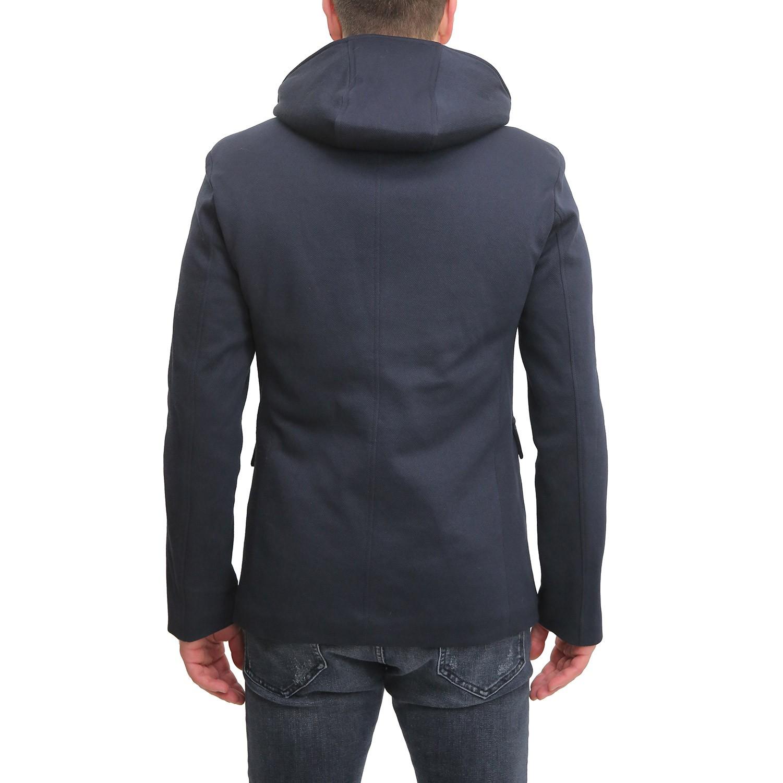 Cappotto-Uomo-Invernale-Corto-Blu-Nero-Con-Cappuccio-Giubbotto-Giacca-Giaccone miniatura 7