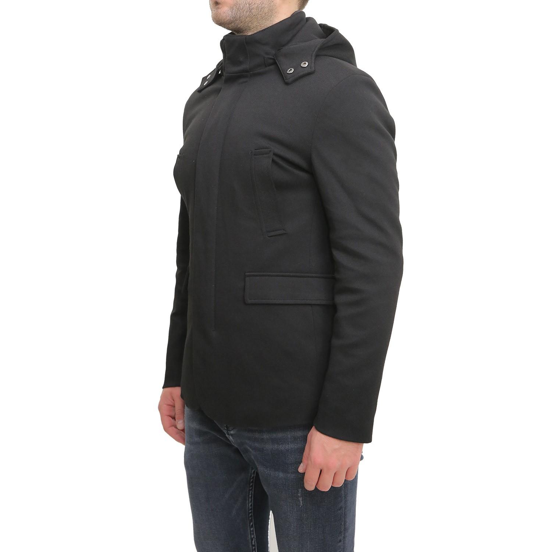 Cappotto-Uomo-Invernale-Corto-Blu-Nero-Con-Cappuccio-Giubbotto-Giacca-Giaccone miniatura 10