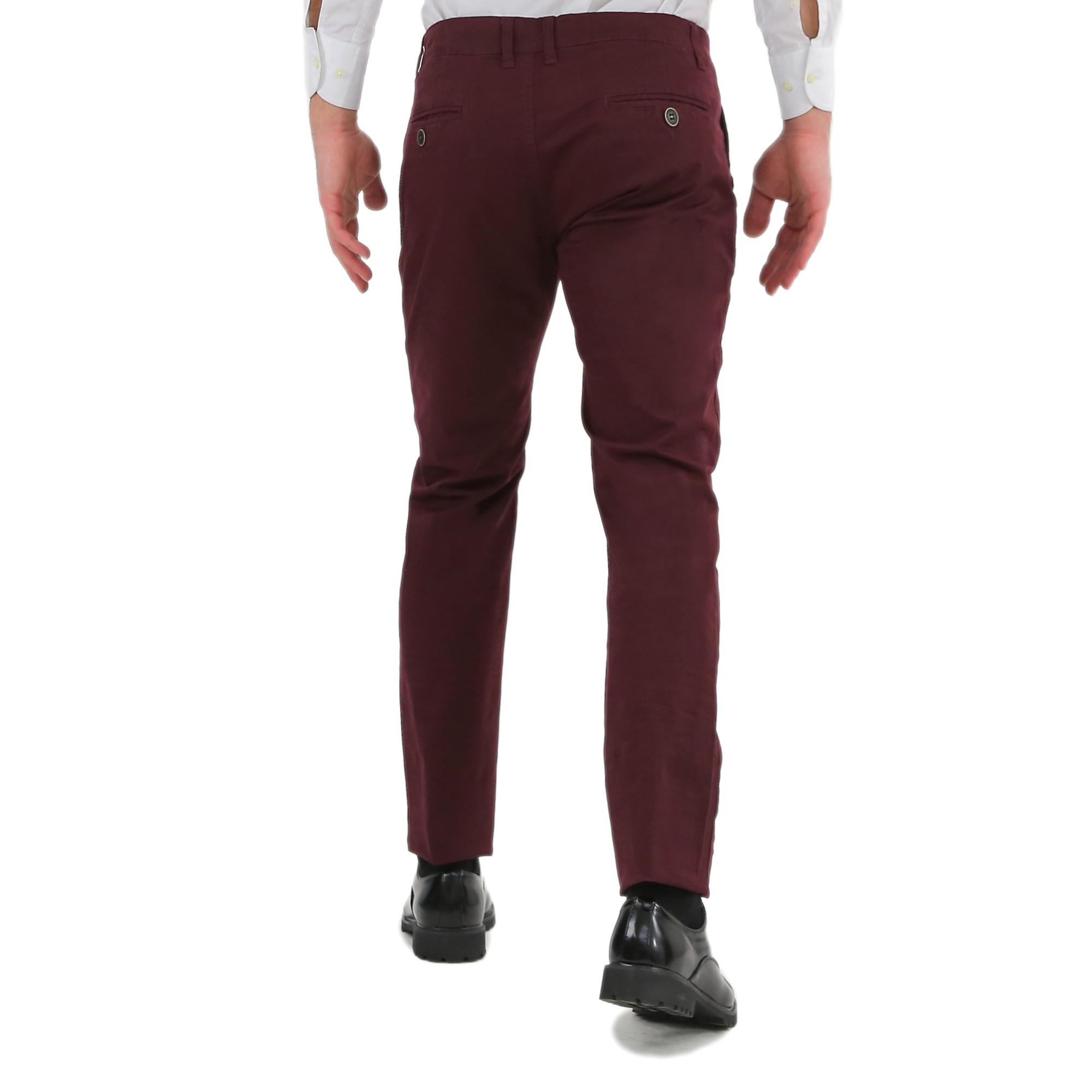 Pantaloni-Uomo-Slim-Fit-Eleganti-Invernali-Cargo-Classico-Chino-Kaki-Tasca-Ameri miniatura 13