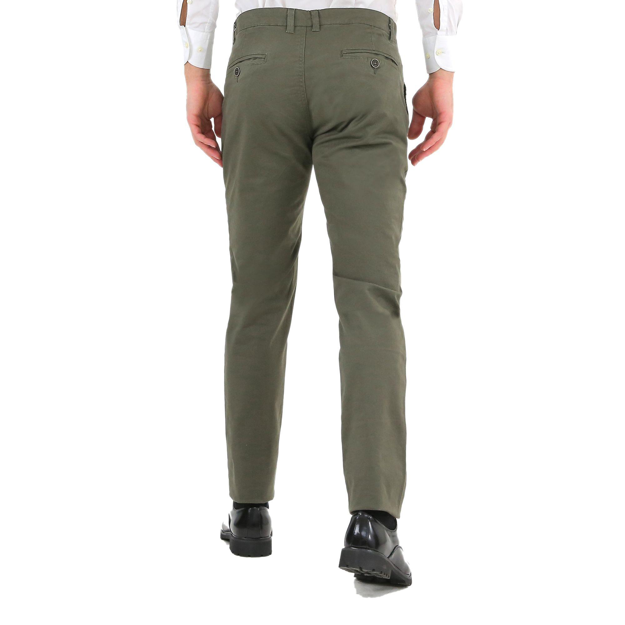 Pantaloni-Uomo-Slim-Fit-Eleganti-Invernali-Cargo-Classico-Chino-Kaki-Tasca-Ameri miniatura 10