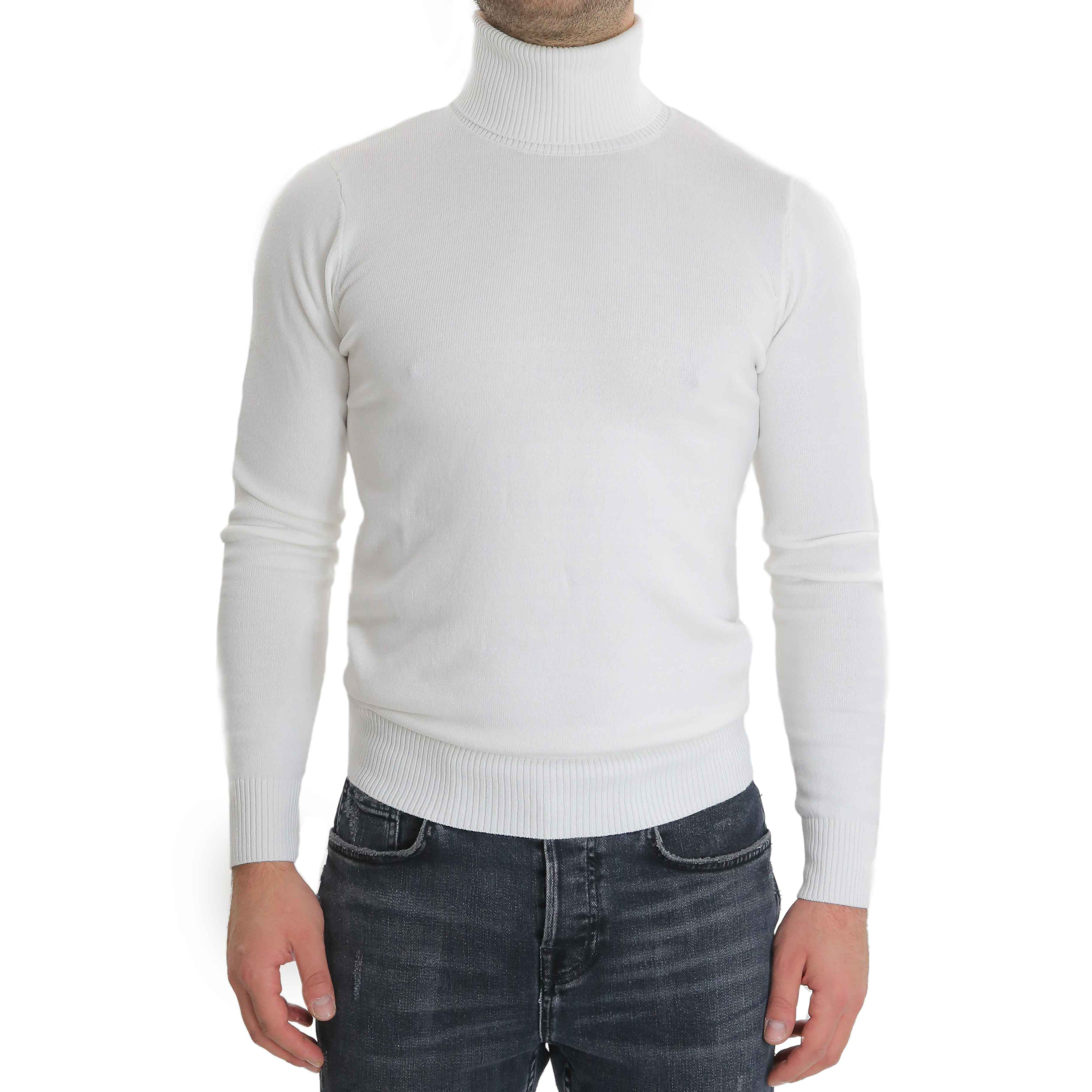 miglior servizio 1a425 af106 Dettagli su Maglione Uomo Collo Alto Bianco Slim Maglioncino Dolcevita  Lupetto Pullover
