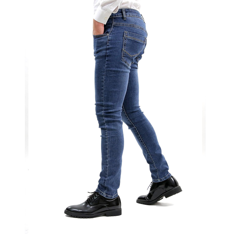Jeans-Uomo-Primaverile-Slim-Fit-Blu-Pantalone-Casual-Pantaloni-Denim-Elasticizza miniatura 3