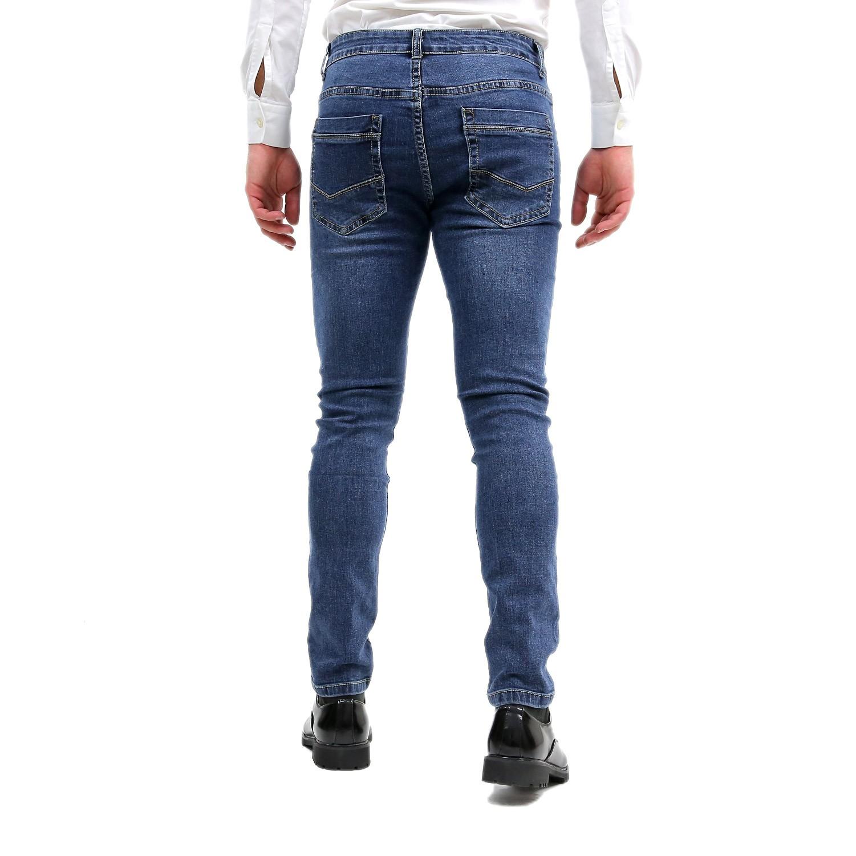 Jeans-Uomo-Primaverile-Slim-Fit-Blu-Pantalone-Casual-Pantaloni-Denim-Elasticizza miniatura 4