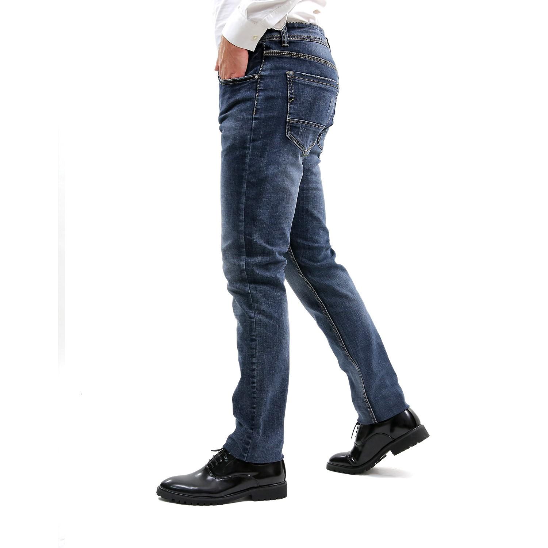 Jeans-Uomo-Primaverile-Slim-Fit-Blu-Pantalone-Casual-Pantaloni-Denim-Elasticizza miniatura 6
