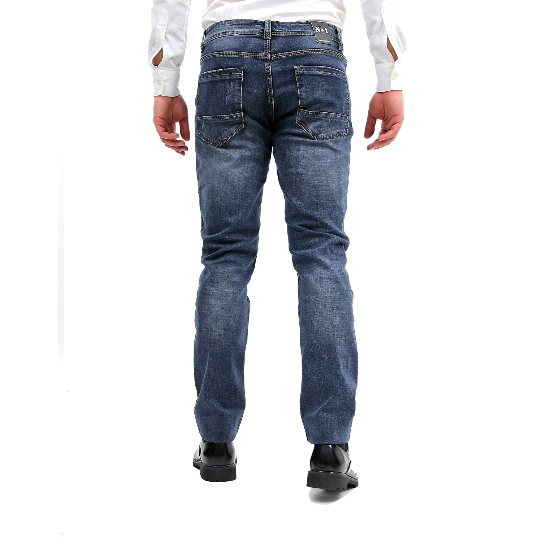 Jeans-Uomo-Primaverile-Slim-Fit-Blu-Pantalone-Casual-Pantaloni-Denim-Elasticizza miniatura 7