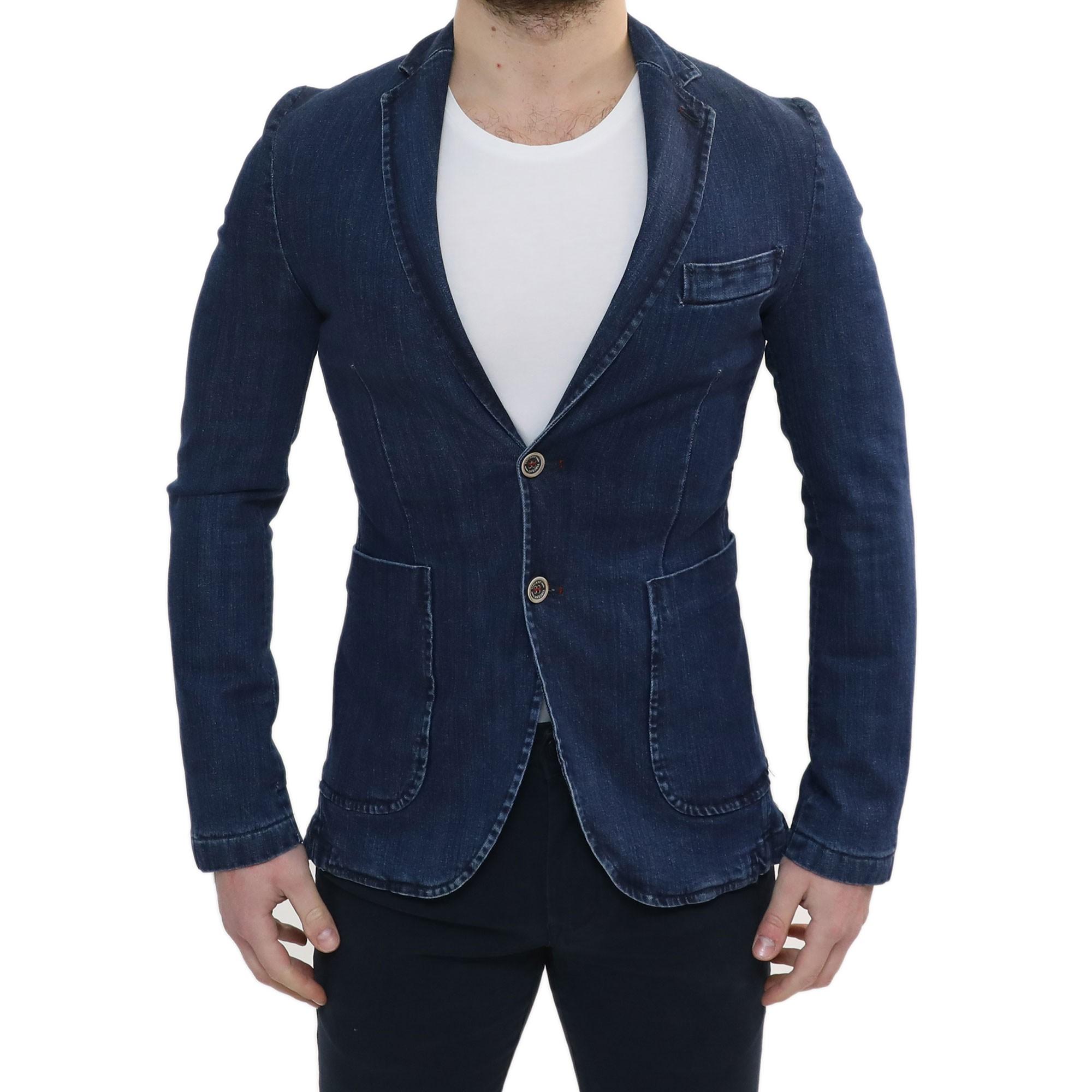 Giacca Blazer Uomo Slim Fit Blu Denim Vincent Elegante Casual Sartoriale