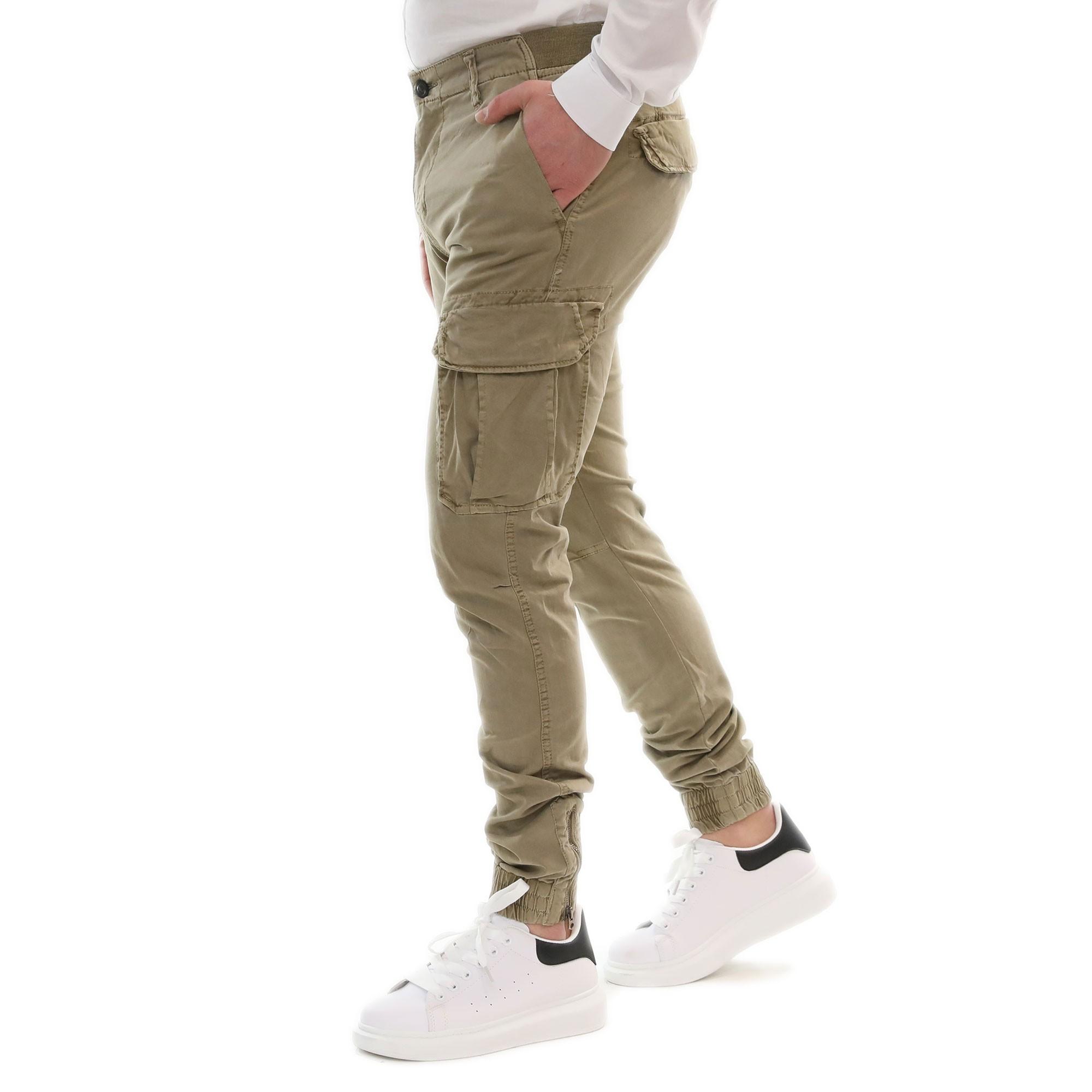 Pantalone-Uomo-Cargo-Primaverile-Con-Tasconi-Verde-Blu-Beige-SlimFit-Pantaloni miniatura 9