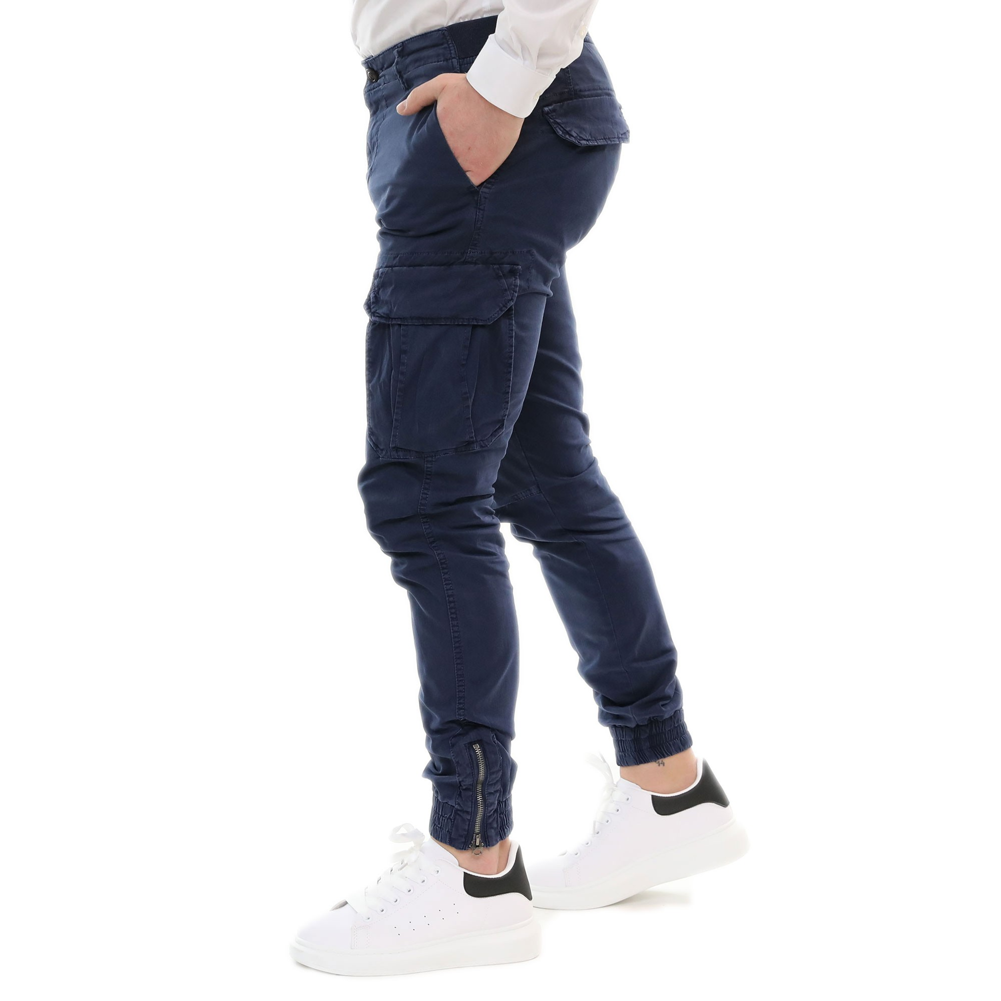 Pantalone-Uomo-Cargo-Primaverile-Con-Tasconi-Verde-Blu-Beige-SlimFit-Pantaloni miniatura 3