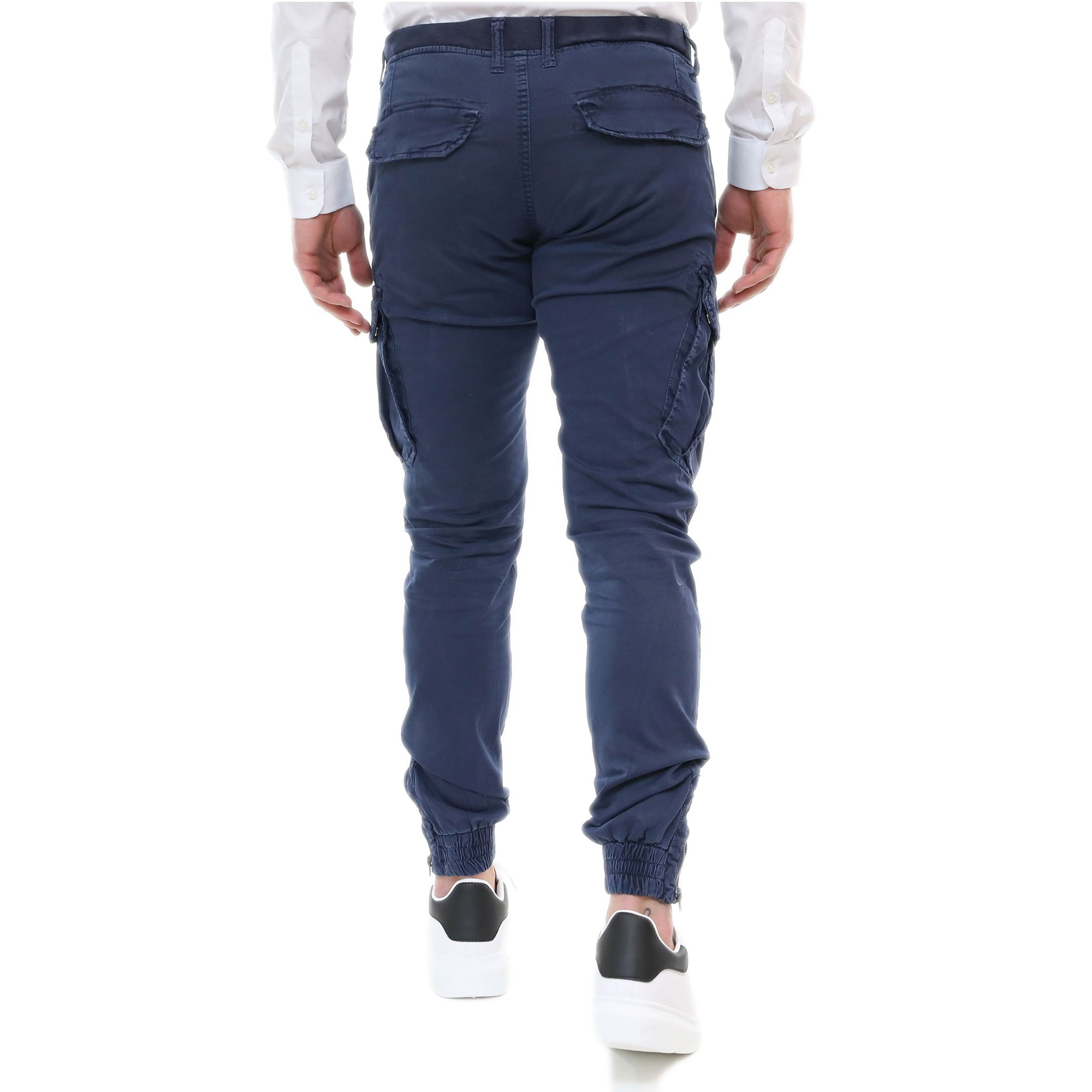 Pantalone-Uomo-Cargo-Primaverile-Con-Tasconi-Verde-Blu-Beige-SlimFit-Pantaloni miniatura 4