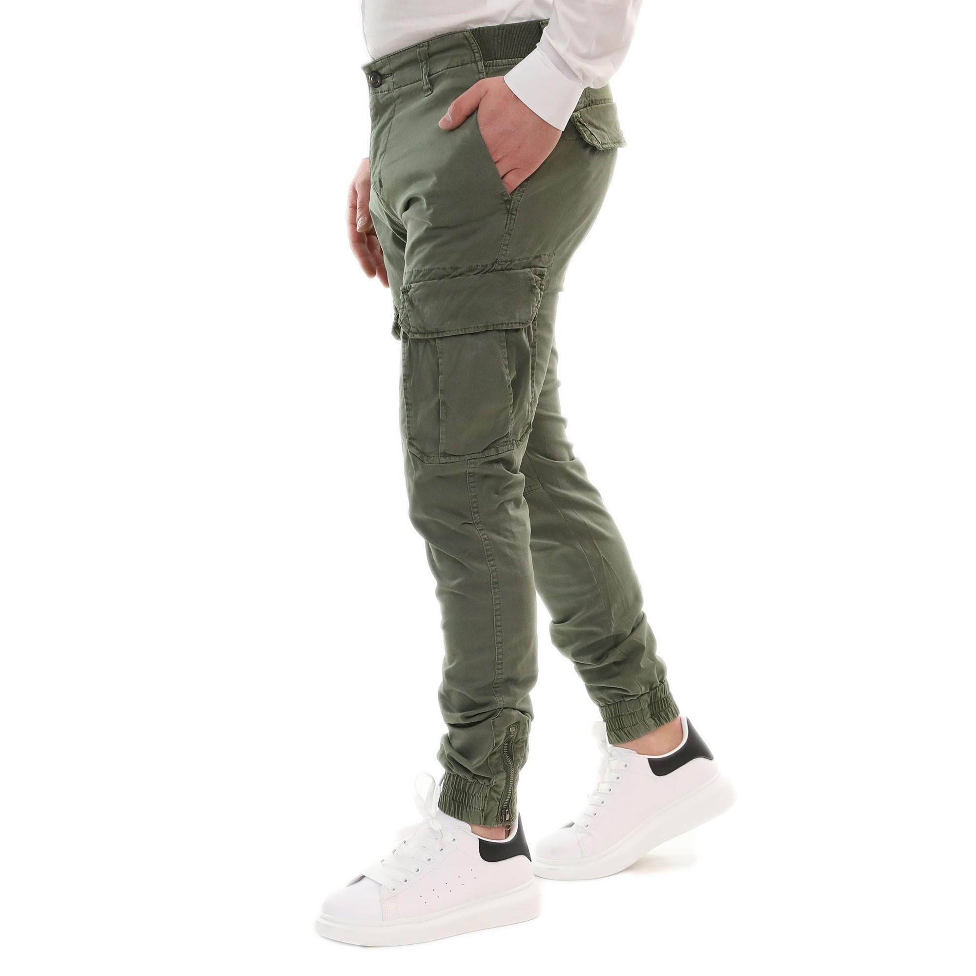 Pantalone-Uomo-Cargo-Primaverile-Con-Tasconi-Verde-Blu-Beige-SlimFit-Pantaloni miniatura 6