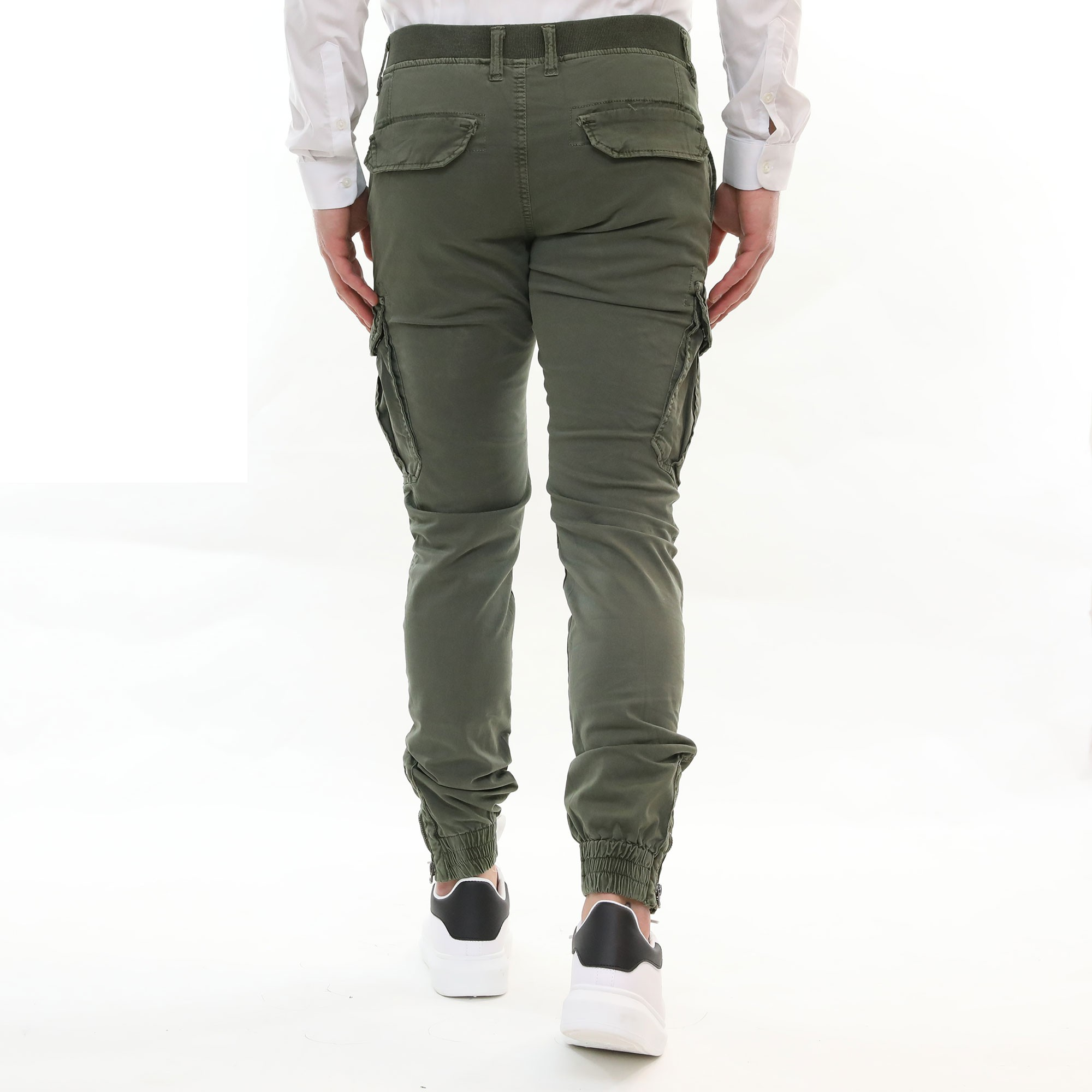 Pantalone-Uomo-Cargo-Primaverile-Con-Tasconi-Verde-Blu-Beige-SlimFit-Pantaloni miniatura 7