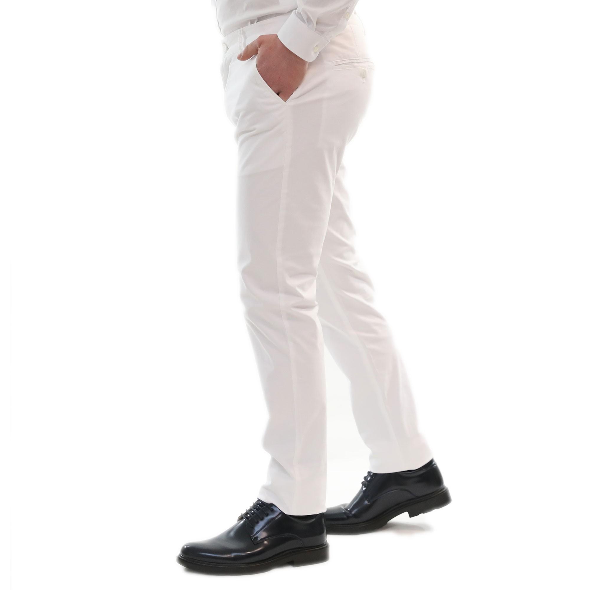 Pantalone-Uomo-Estivo-Cotone-Leggero-Chino-Slim-Fit-Elegante-Tasche-America miniatura 15