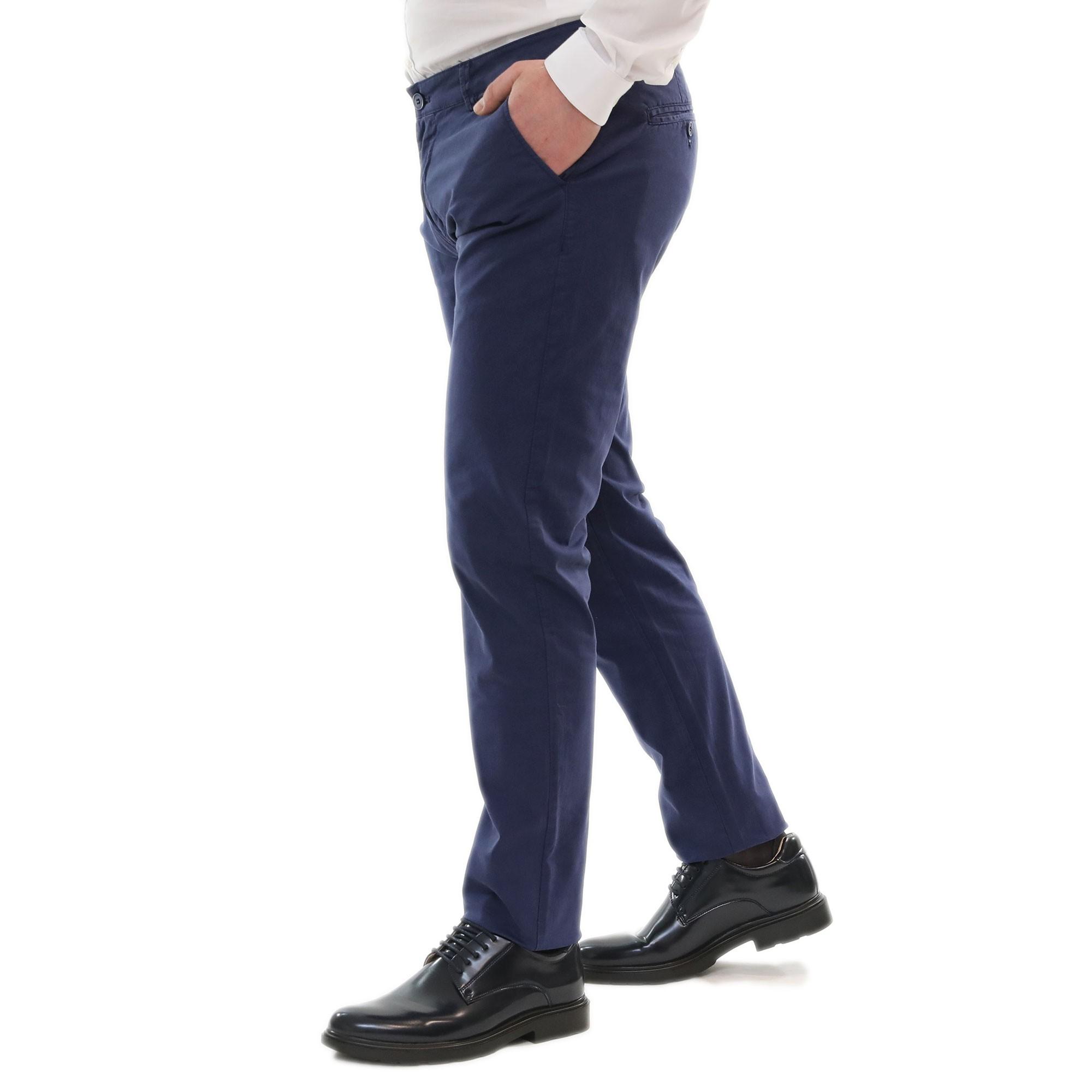 Pantalone-Uomo-Estivo-Cotone-Leggero-Chino-Slim-Fit-Elegante-Tasche-America miniatura 9