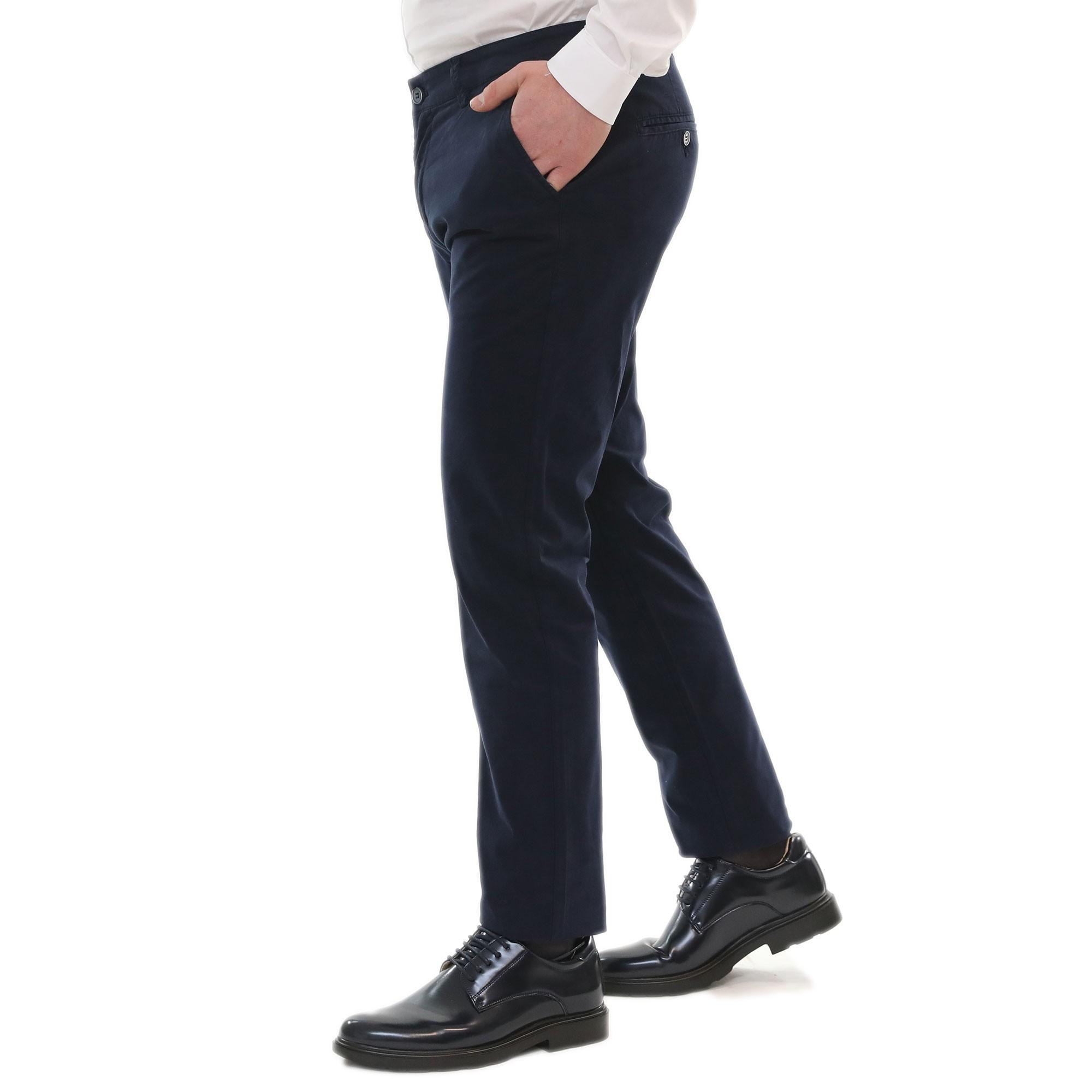 Pantalone-Uomo-Estivo-Cotone-Leggero-Chino-Slim-Fit-Elegante-Tasche-America miniatura 4