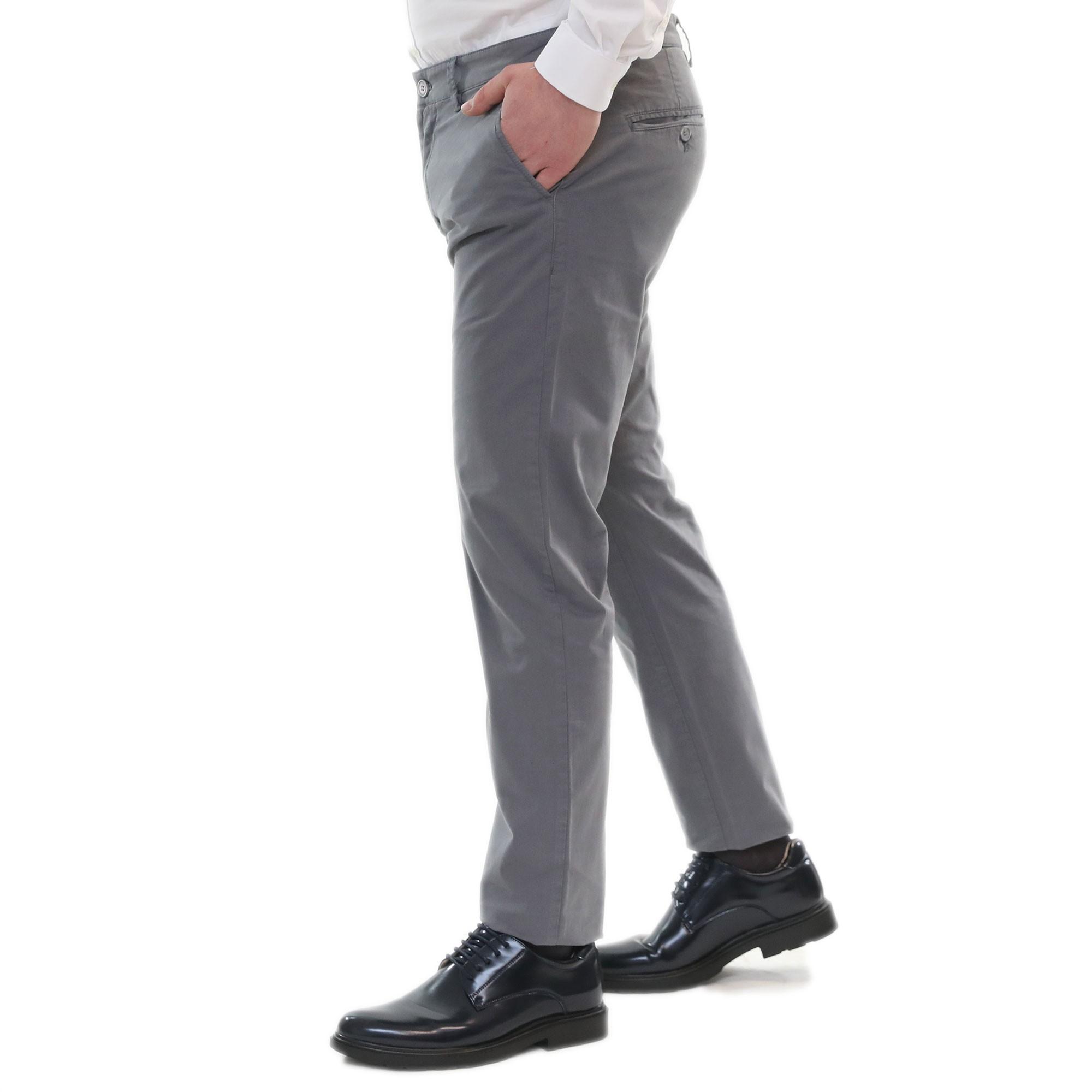 Pantaloni-Uomo-Estivi-Cotone-Chino-Slim-Fit-Elegante-Tasche-America miniatura 13