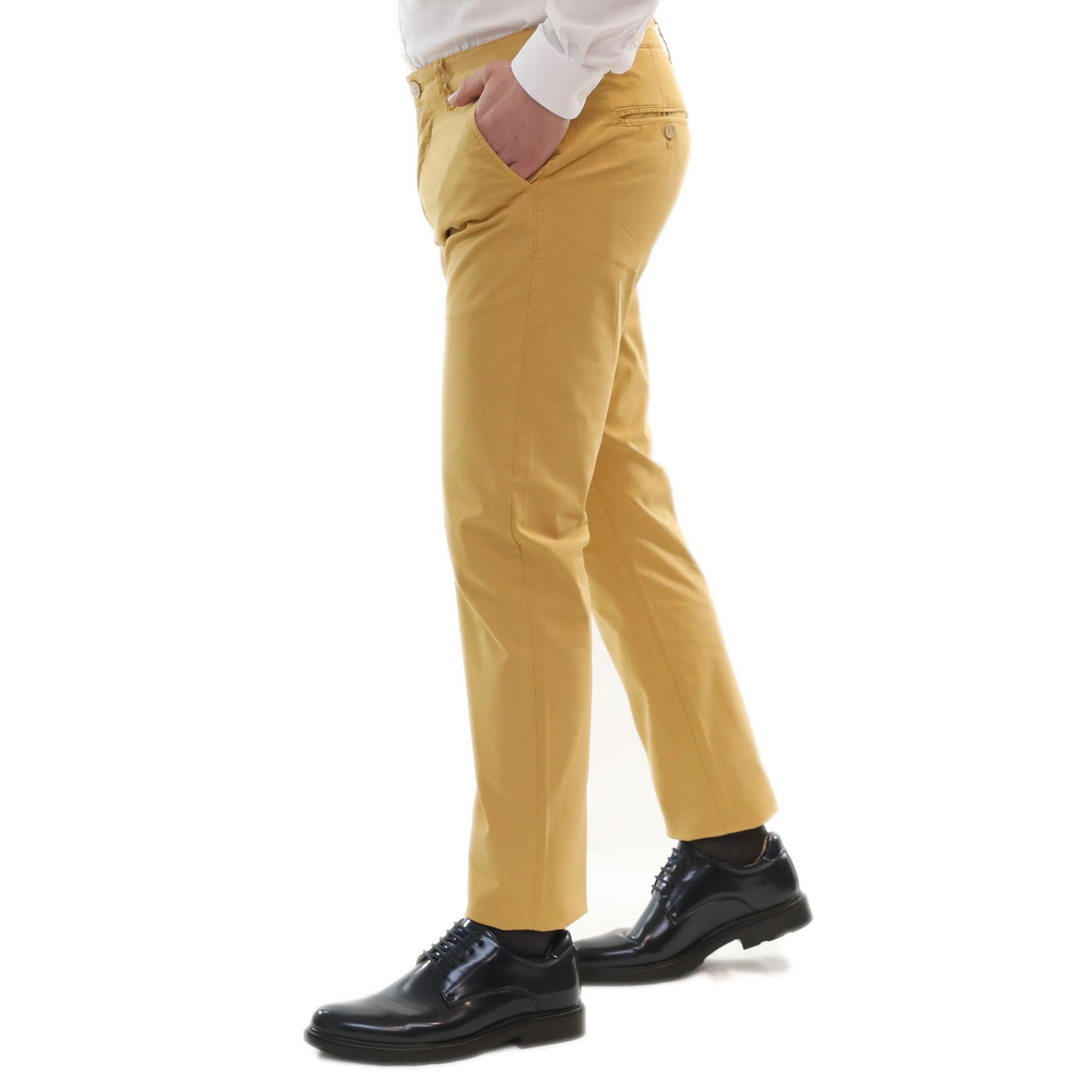 Pantaloni-Uomo-Estivi-Cotone-Chino-Slim-Fit-Elegante-Tasche-America miniatura 7