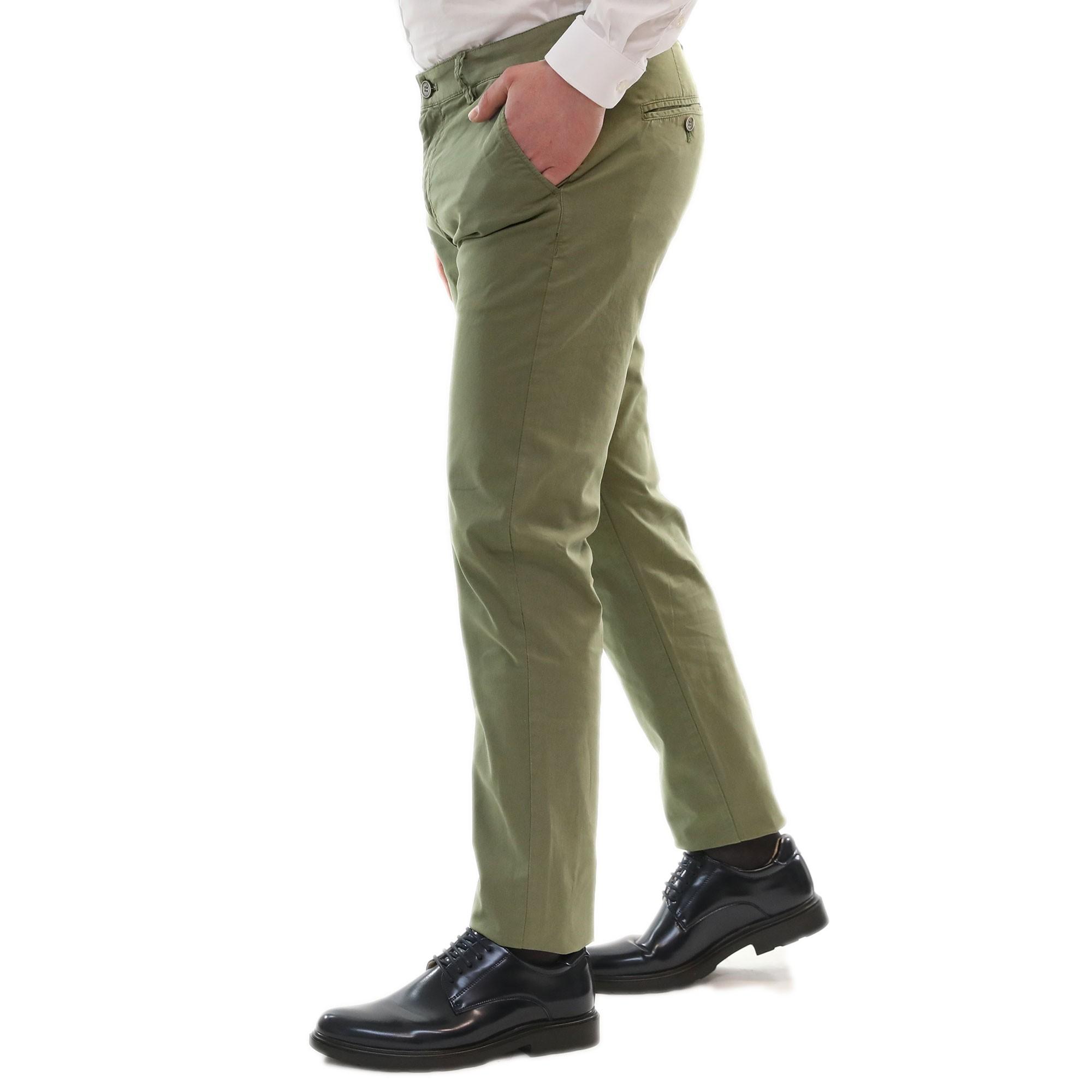 Pantaloni-Uomo-Estivi-Cotone-Chino-Slim-Fit-Elegante-Tasche-America miniatura 5