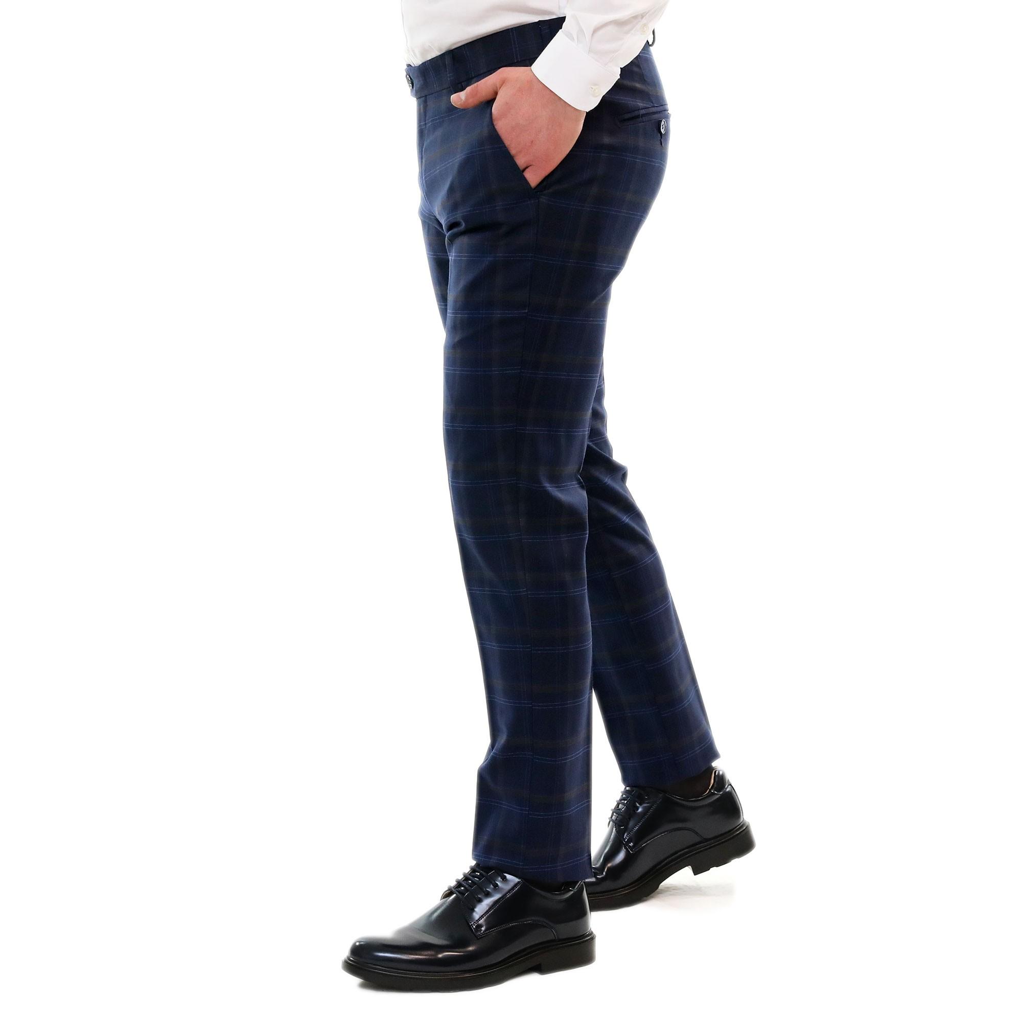 Pantaloni-Uomo-Chino-Cotone-Elegante-Estivi-Abito-Estivo-Tasca-America miniatura 3