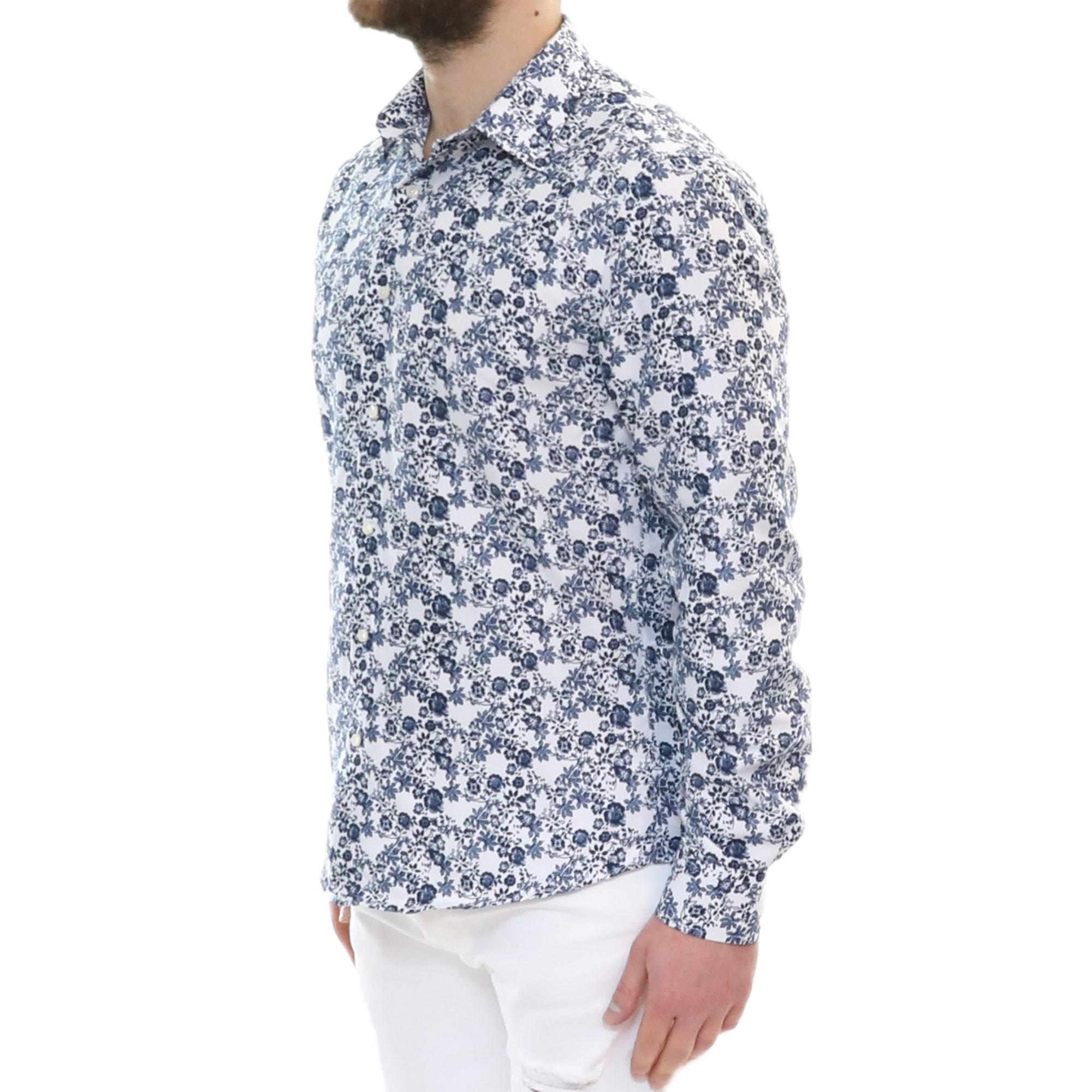 Camicia-Uomo-Cotone-Fiori-Slim-Manica-Lunga-Fantasia-Floreale-S-M-L-XL-XXL miniatura 15