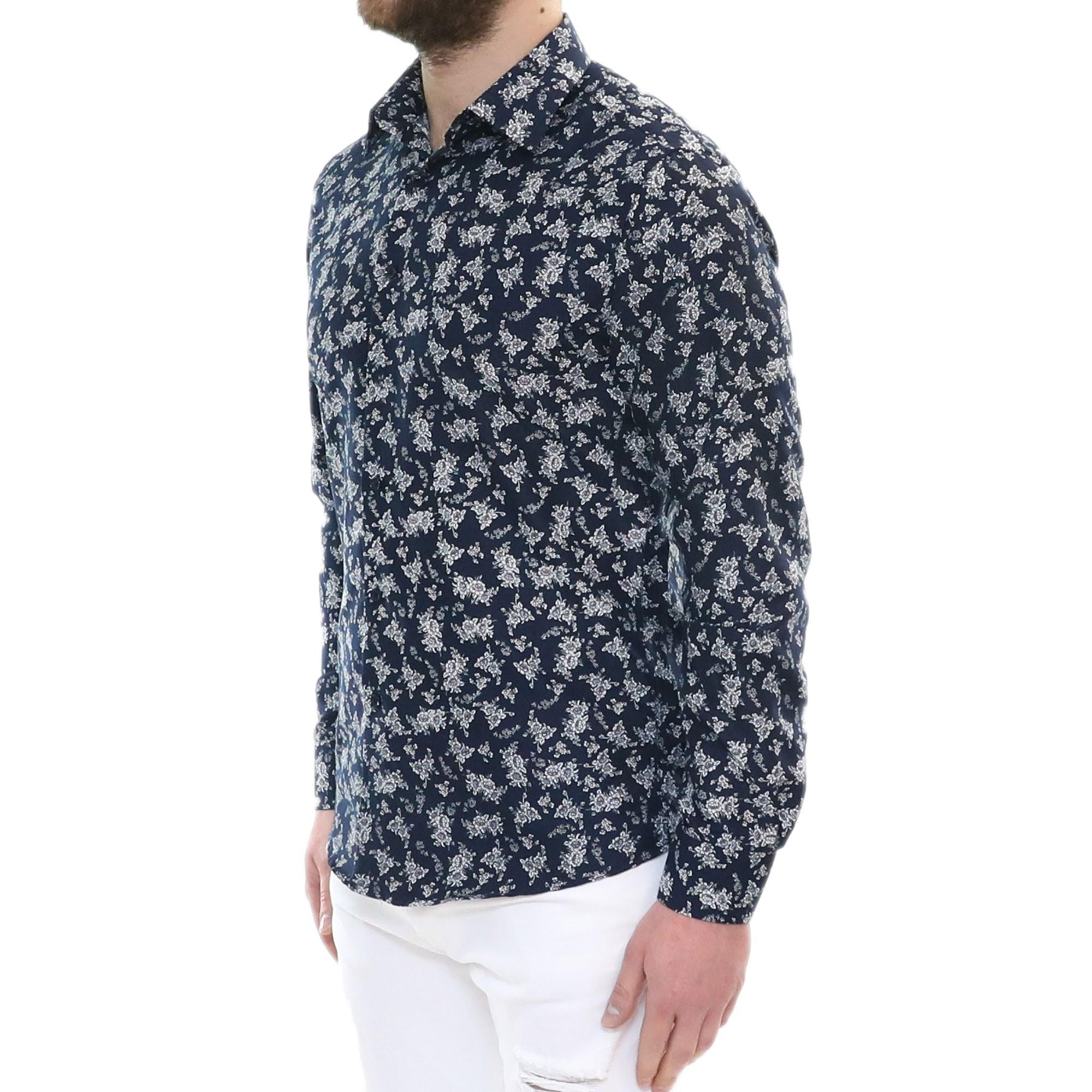 Camicia-Uomo-Cotone-Fiori-Slim-Manica-Lunga-Fantasia-Floreale-S-M-L-XL-XXL miniatura 11