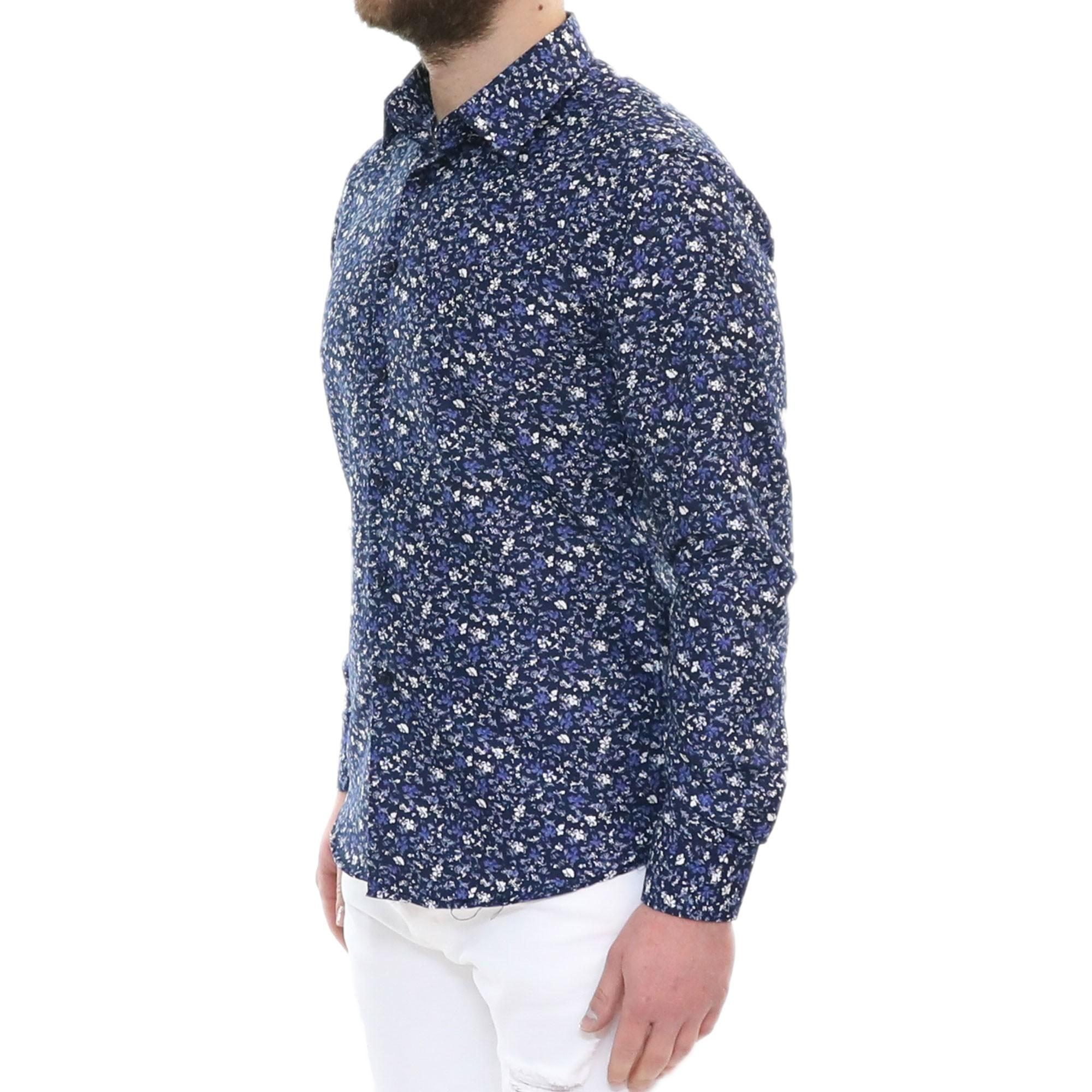 Camicia-Uomo-Cotone-Fiori-Slim-Manica-Lunga-Fantasia-Floreale-S-M-L-XL-XXL miniatura 13
