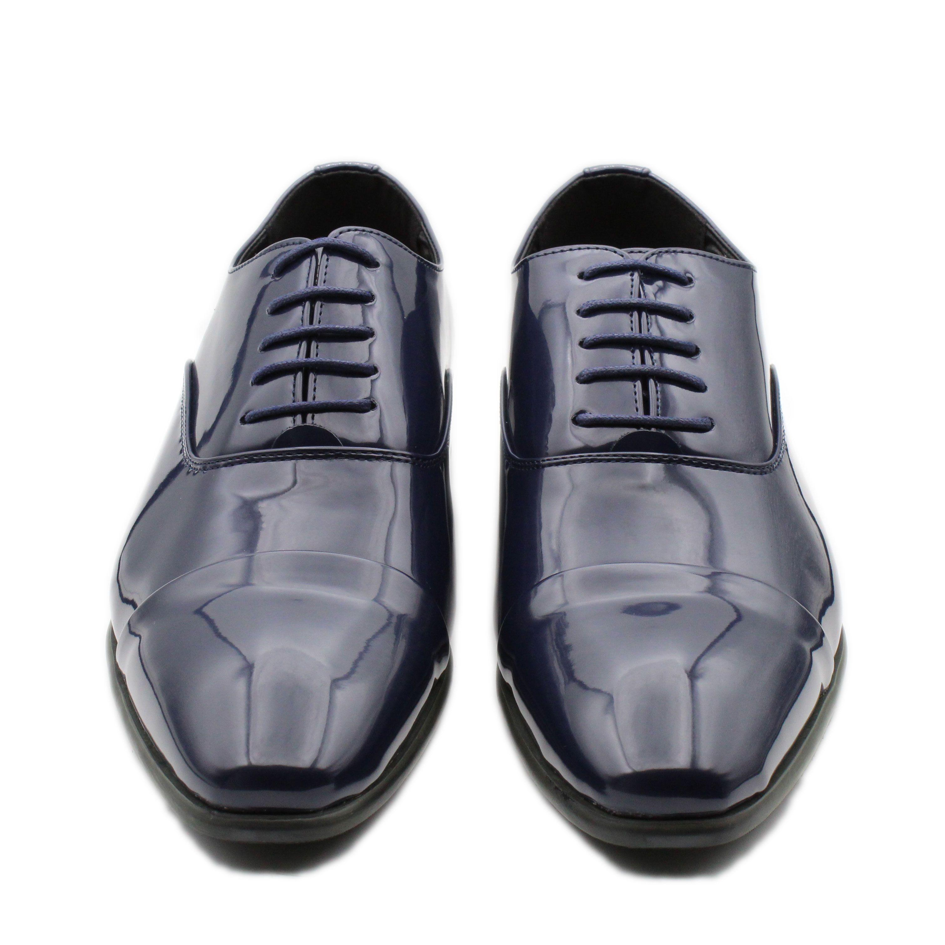 Scarpe-Uomo-Eleganti-Lucide-Blu-Nere-Francesine-Classiche-Cerimonia-Oxford miniatura 4